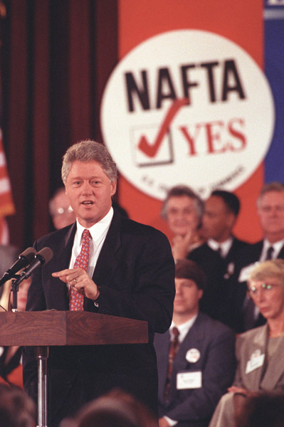 Photograph of President William J. Clinton Speaking at the North American Free Trade Agreement (NAFTA) Event at the United States Chamber of Commerce