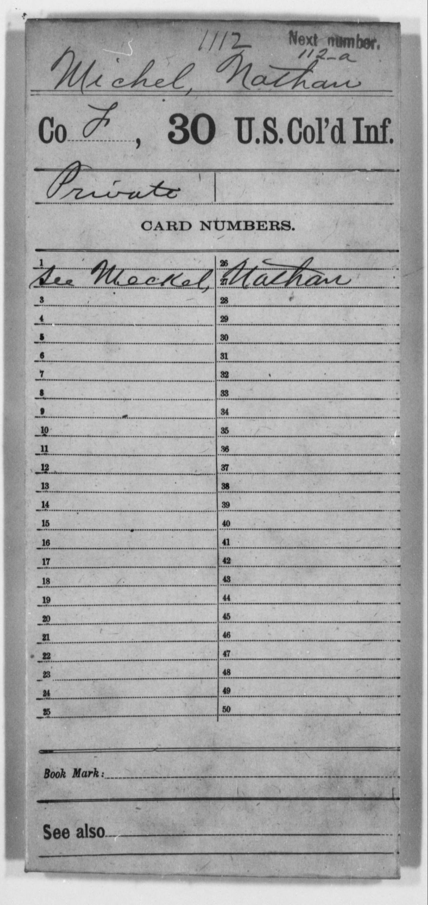 Michel, Nathan - Age [Blank], Year: [BLANK] - 30th US Colored Infantry