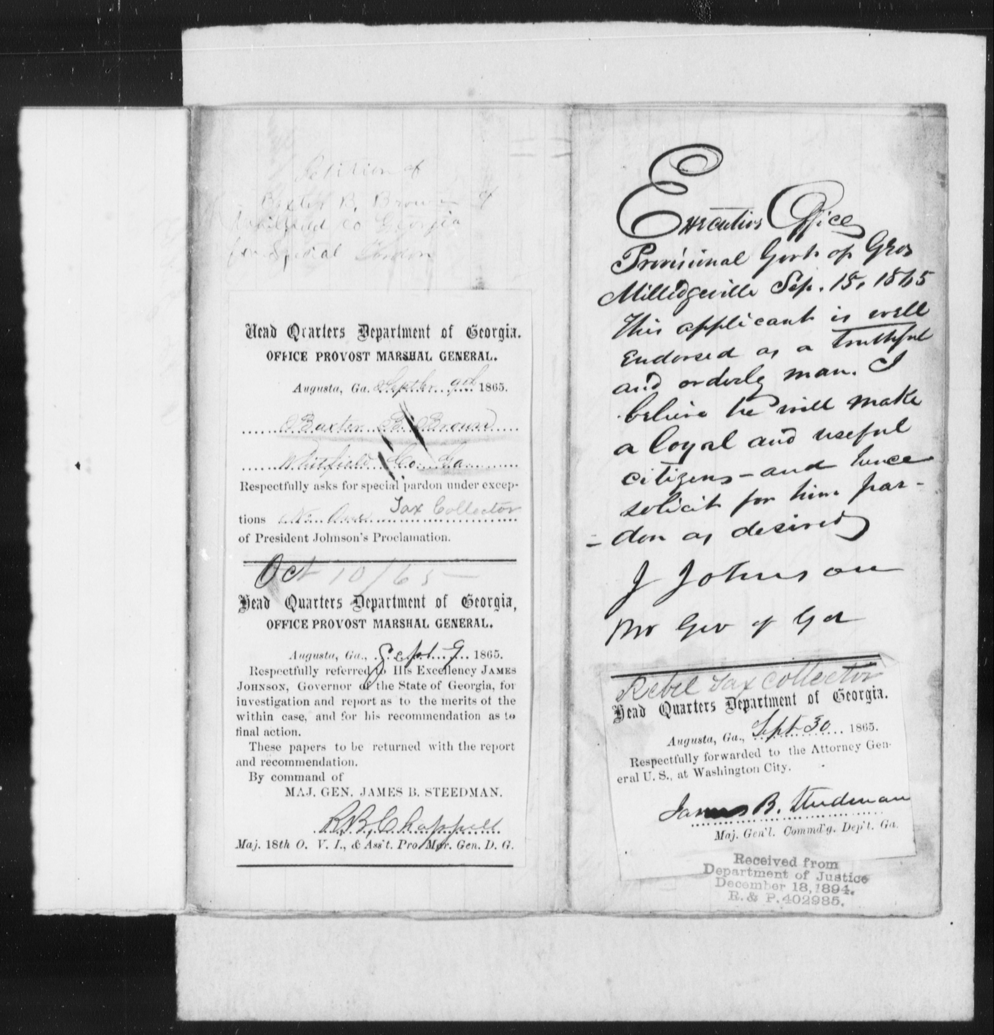 Confederate Applications for Pardon and Amnesty, Georgia: Brown, Baster B