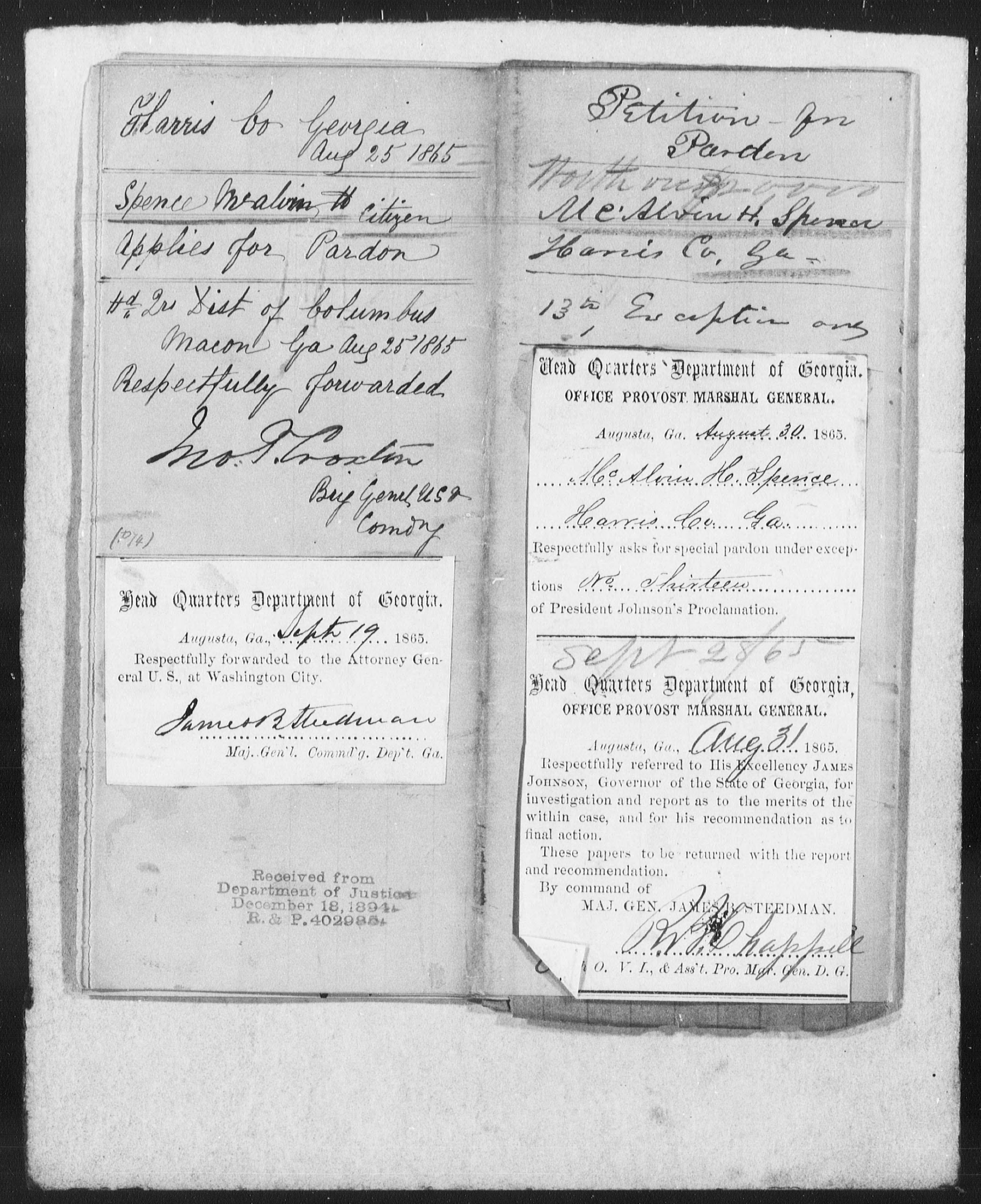 Confederate Applications for Pardon and Amnesty, Georgia: Spence, McAlvin Hovel