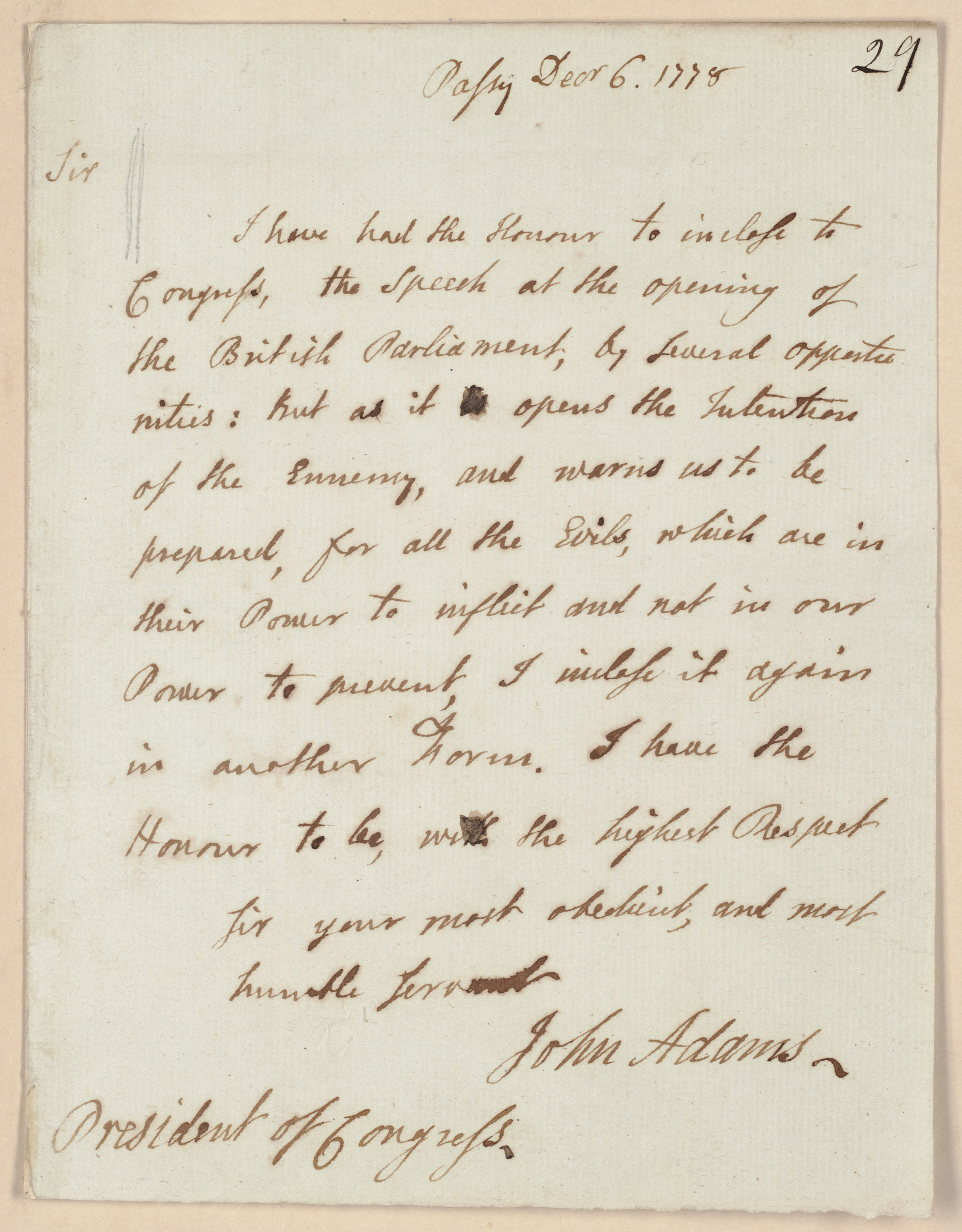Letter from John Adams to the President of Congress