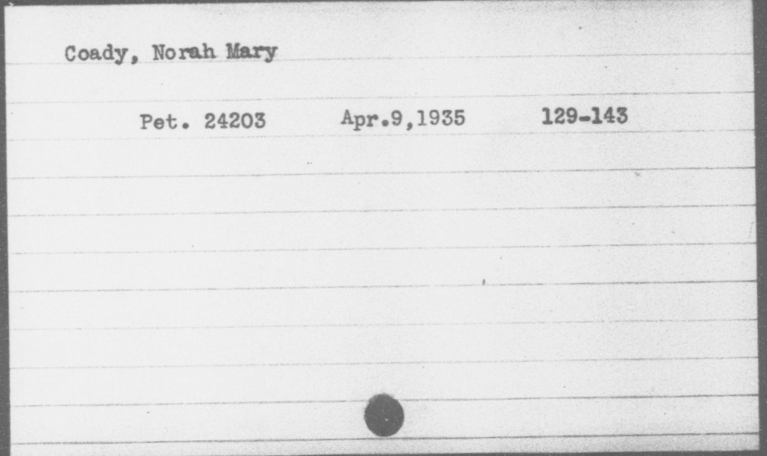 Coady, Norah Mary, Year: 1935