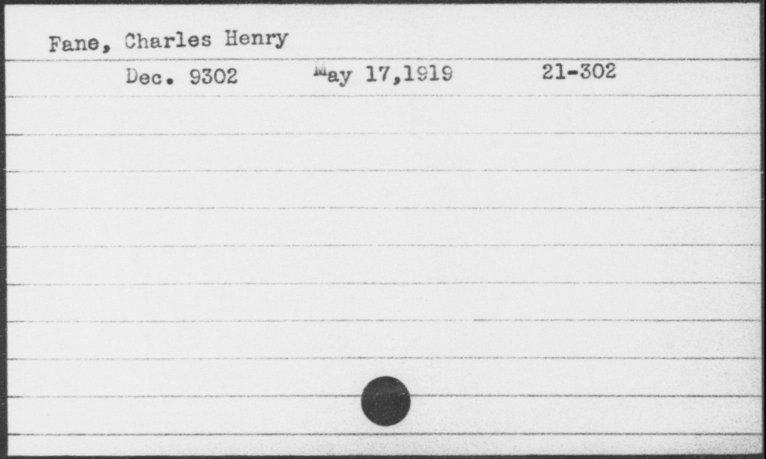 Fane, Charles Henry, Year: [BLANK]