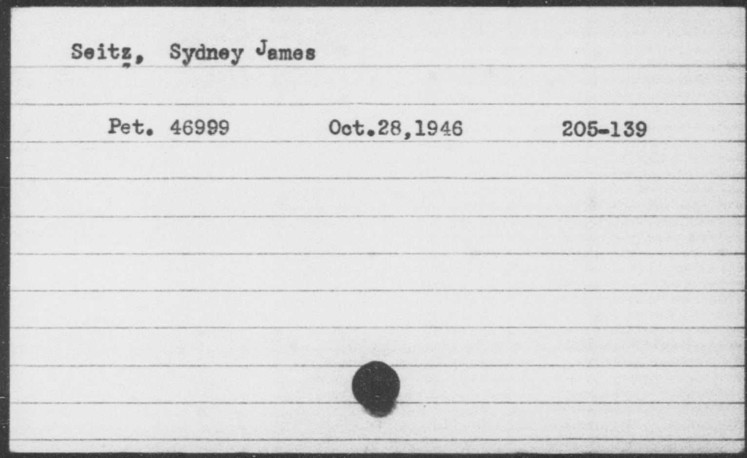 Seitz, Sydney James, Year: 1946
