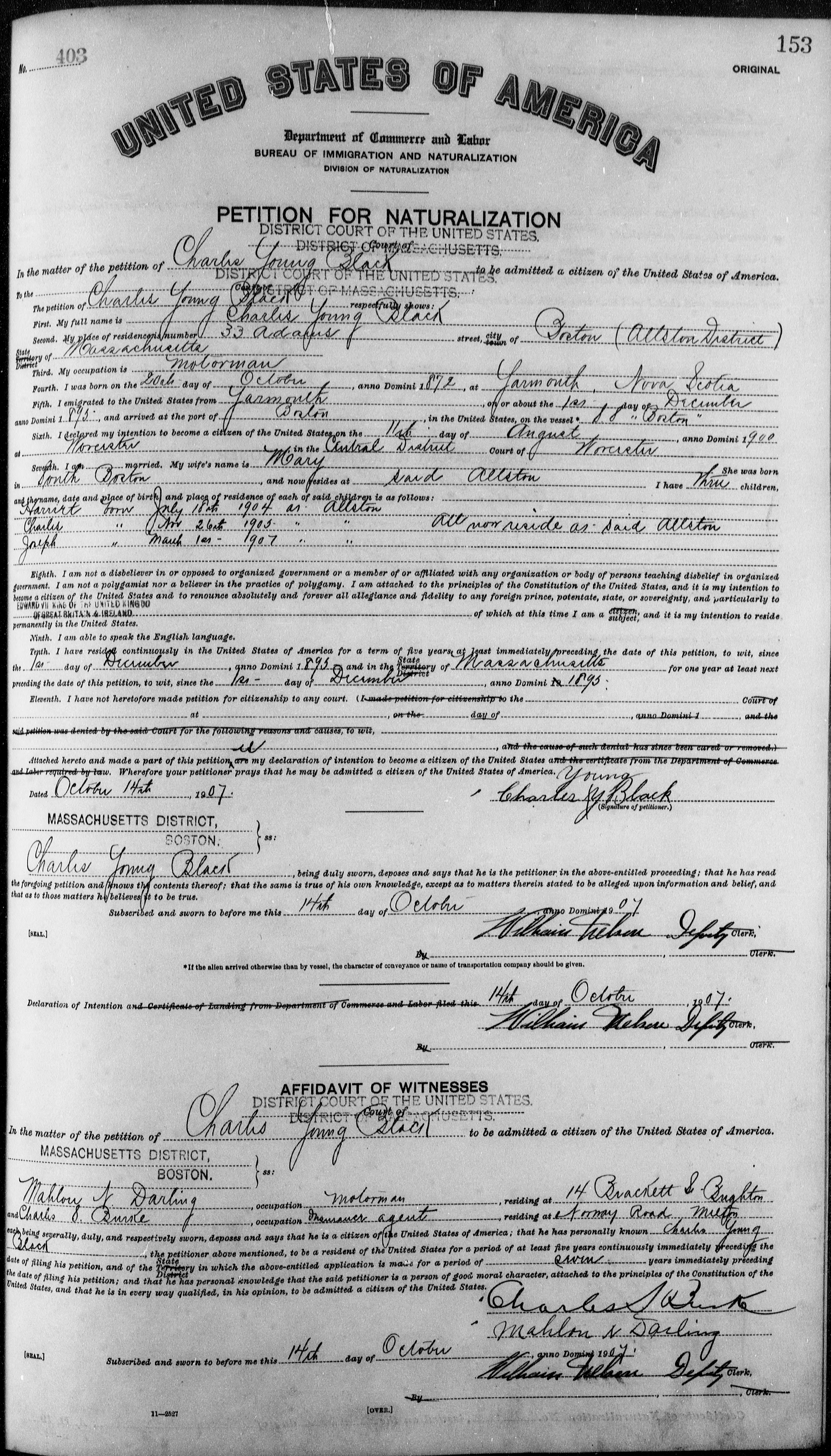 Petition for Naturalization of Charles Young Black