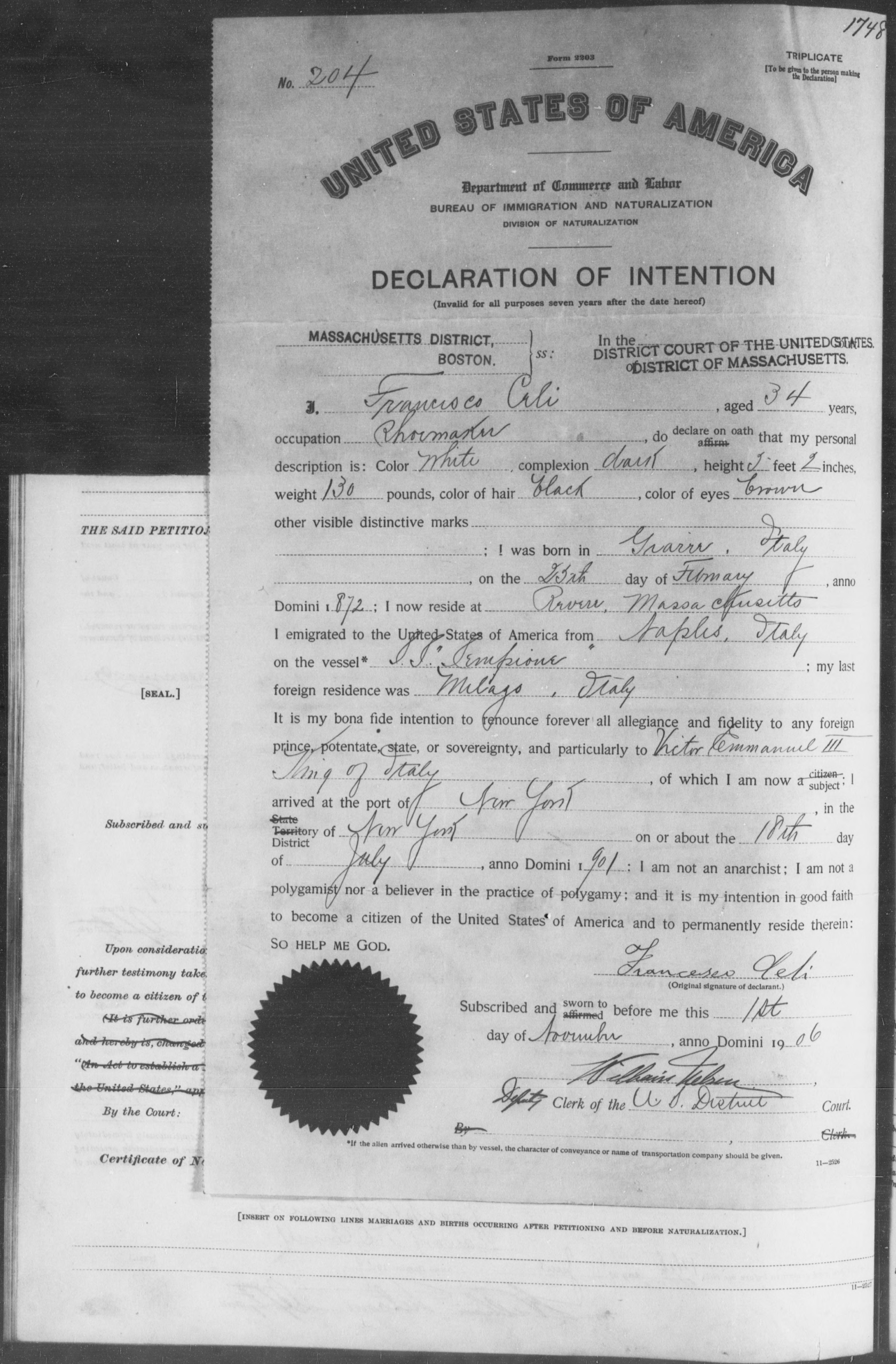 Petition for Naturalization of Francisco Celi