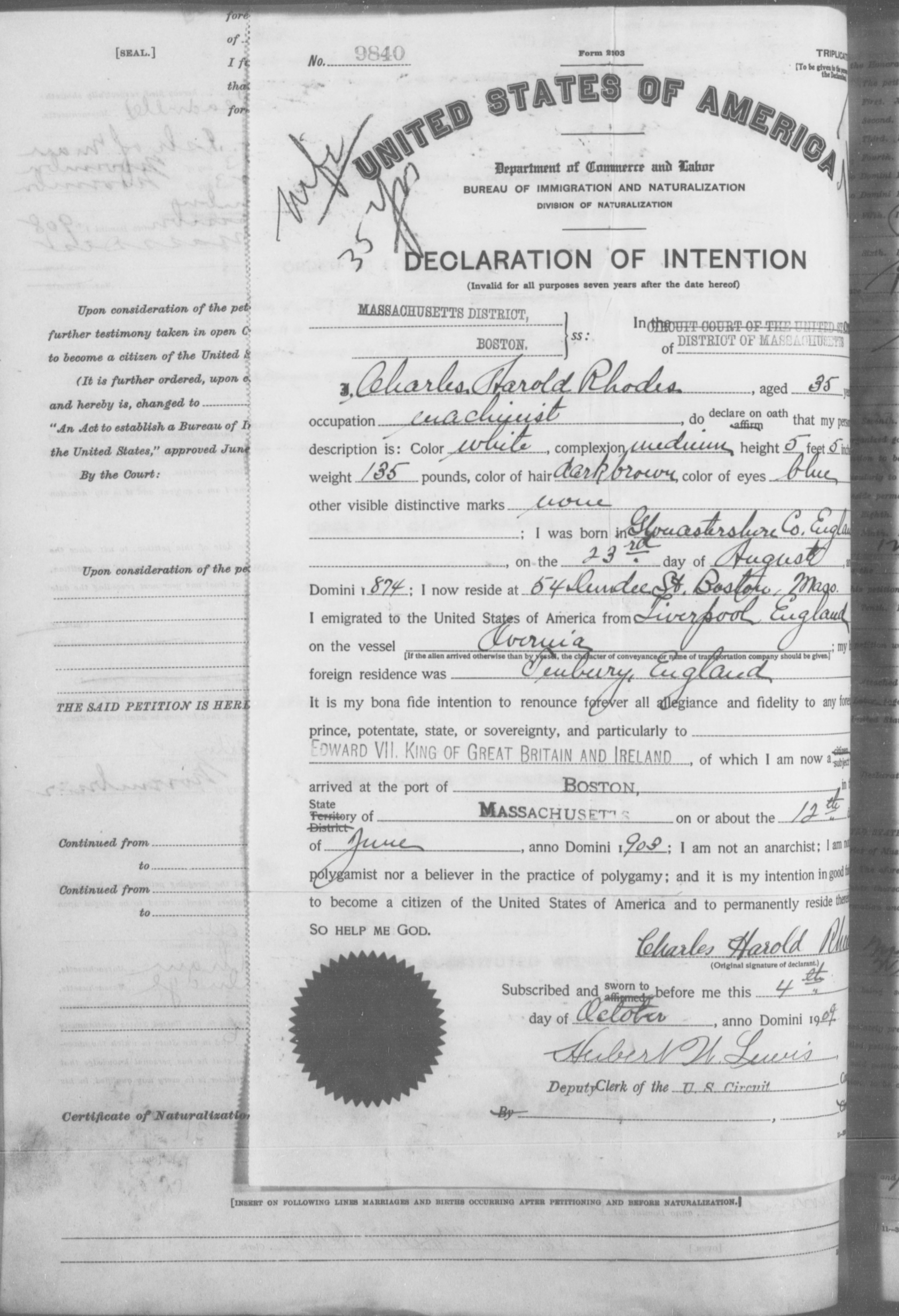 Petition for Naturalization of Charles Harold Rhodes