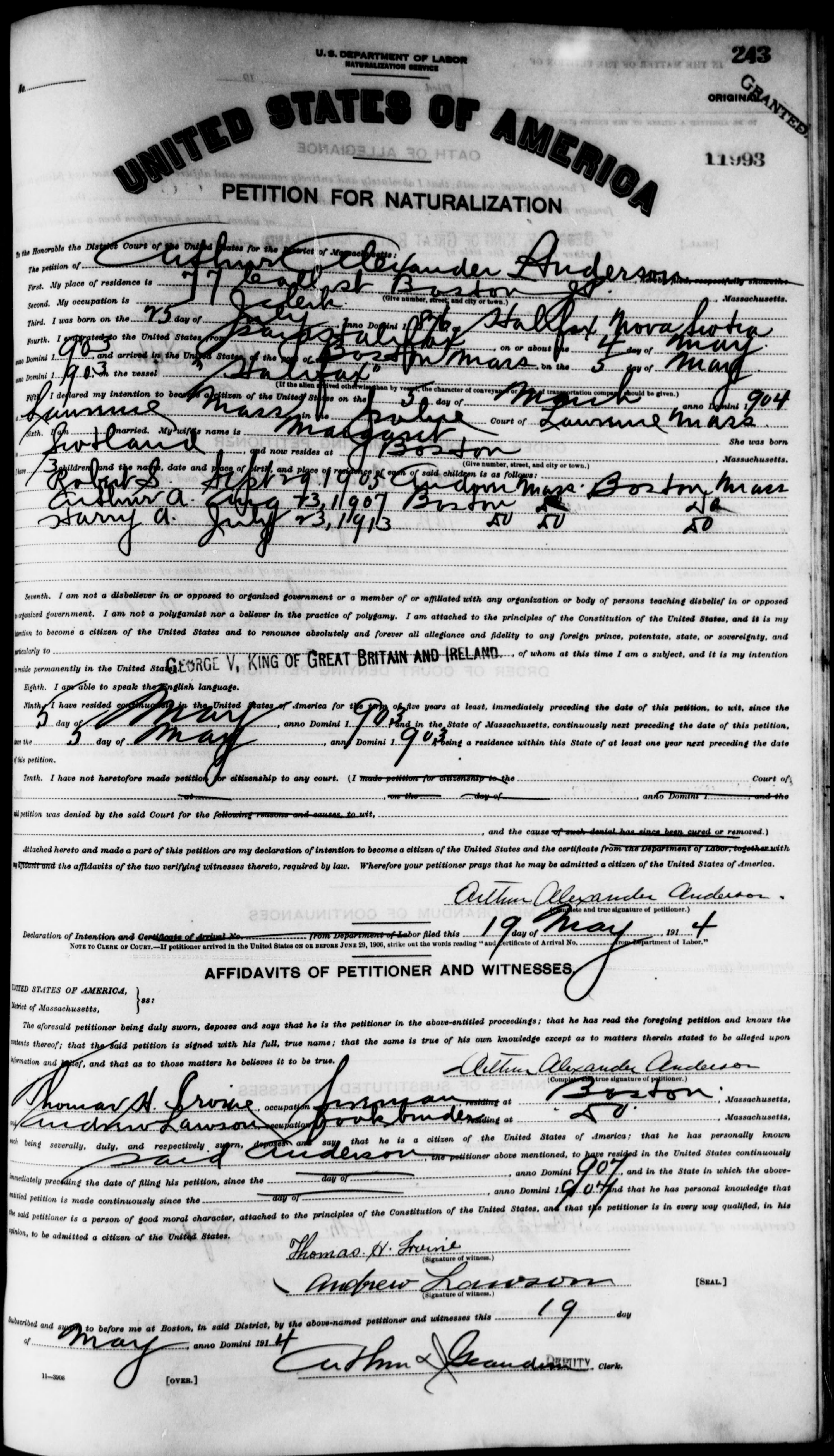 Petition for Naturalization of Arthur Alexander Anderson