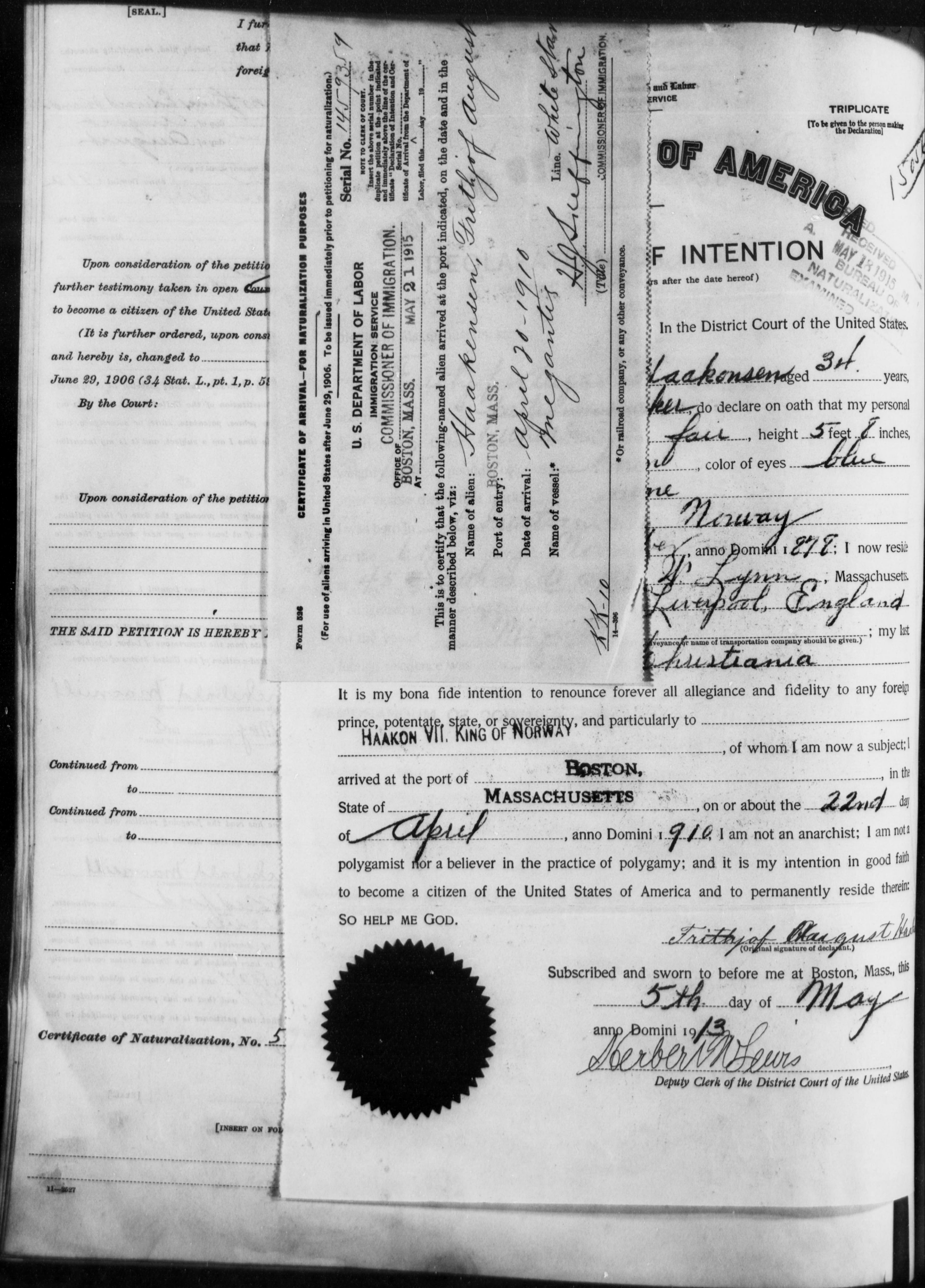 Petition for Naturalization of Frithjof August Haakensen
