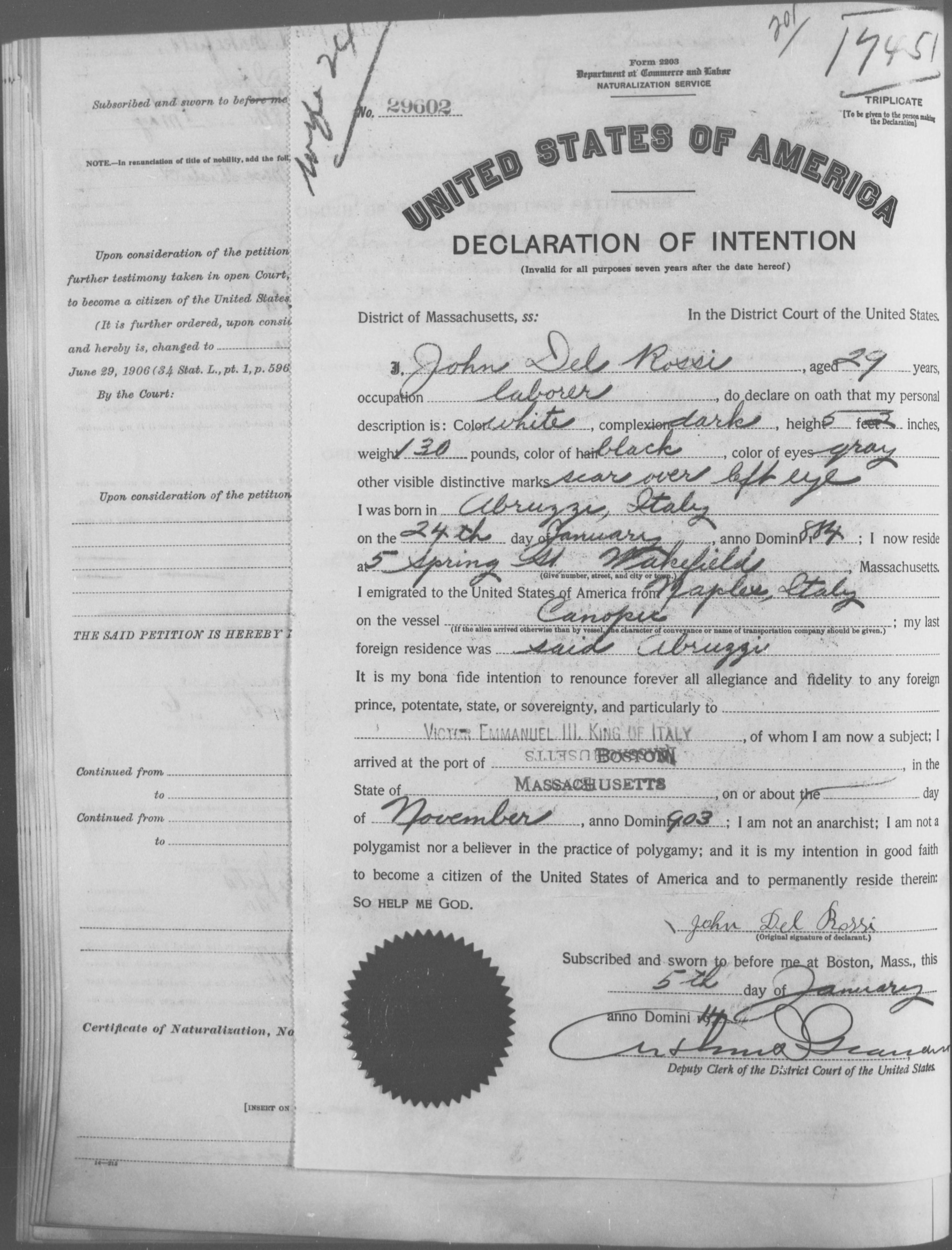 Petition for Naturalization of John Del Rossi