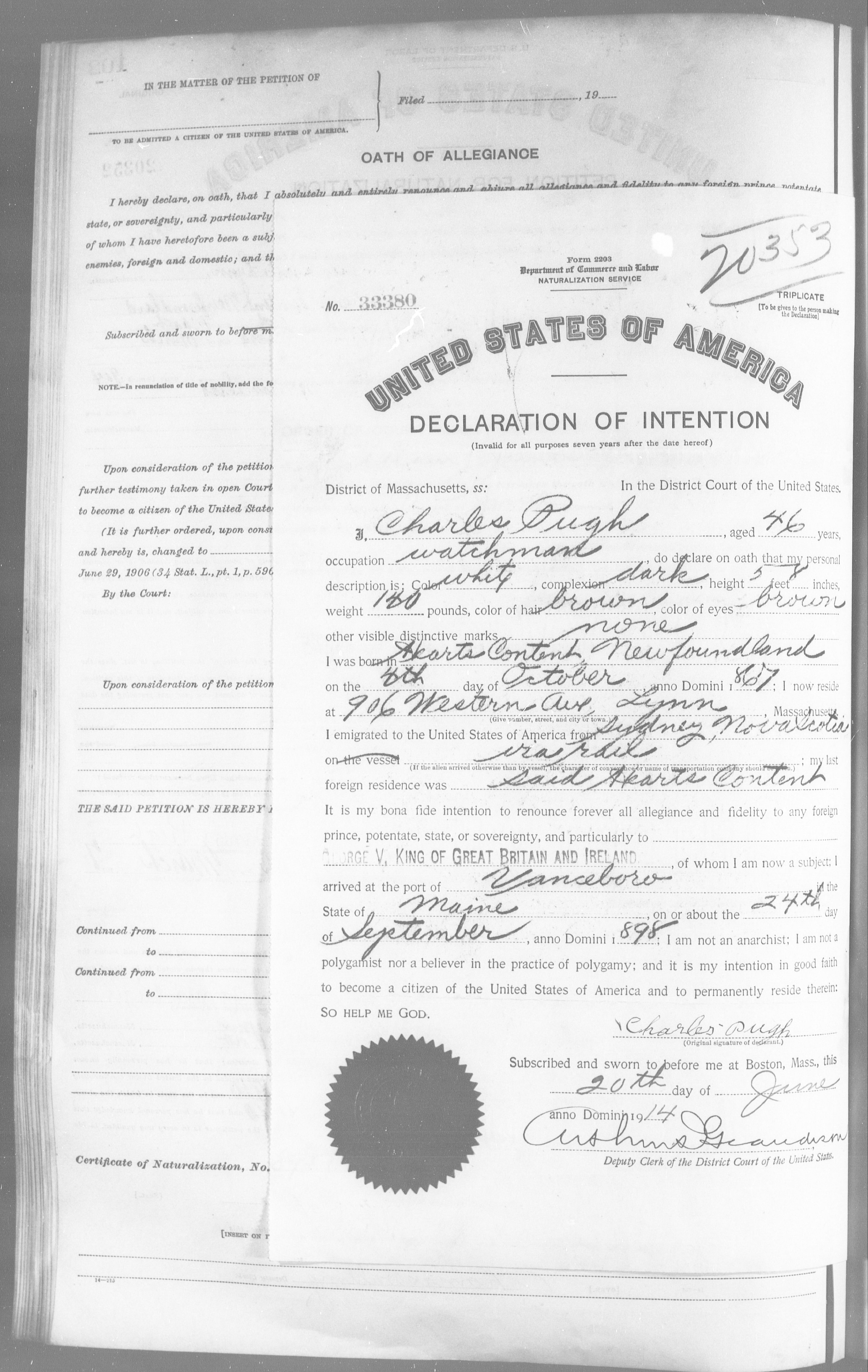 Petition for Naturalization of Charles Pugh