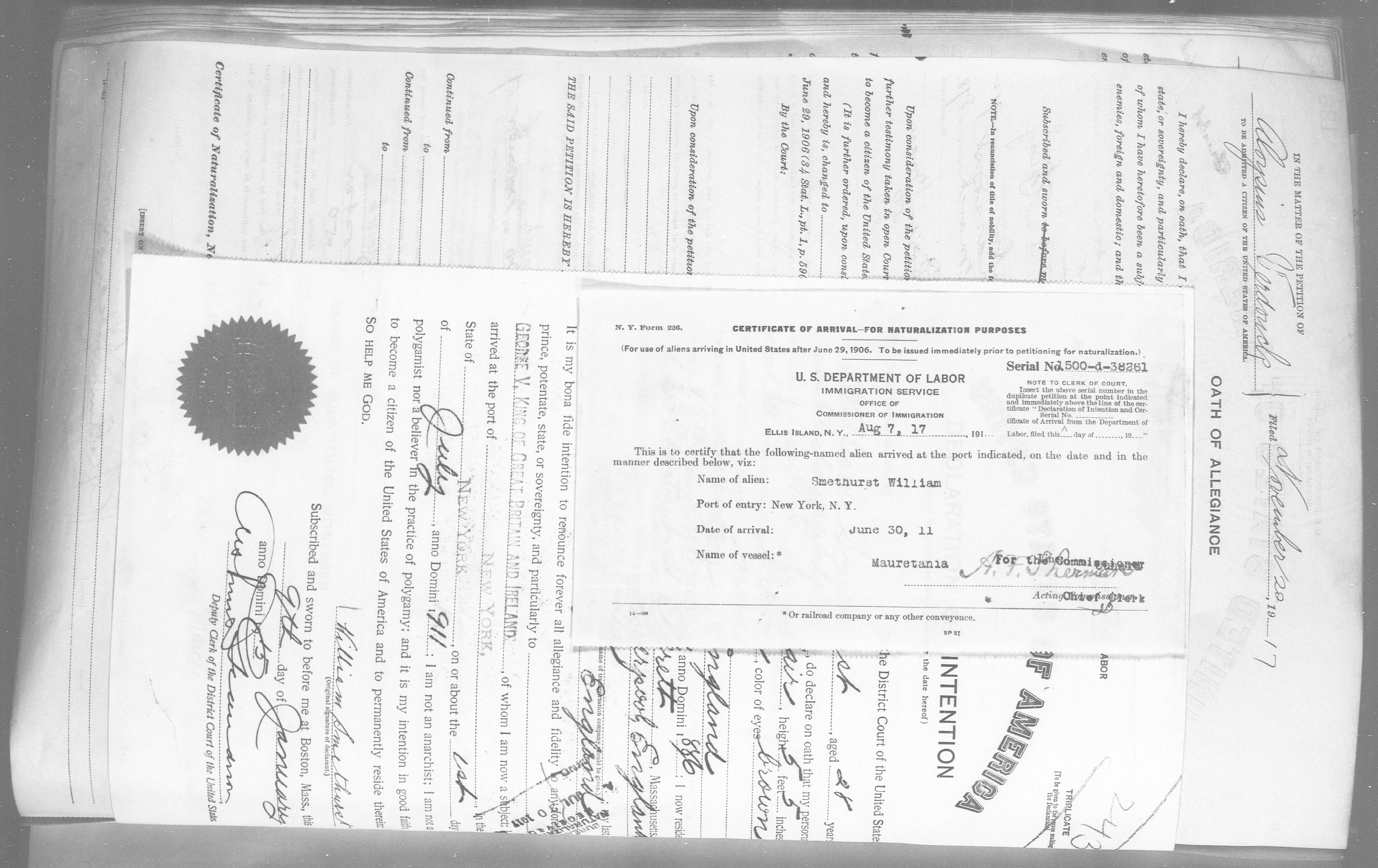 Petition for Naturalization of Smethurst William