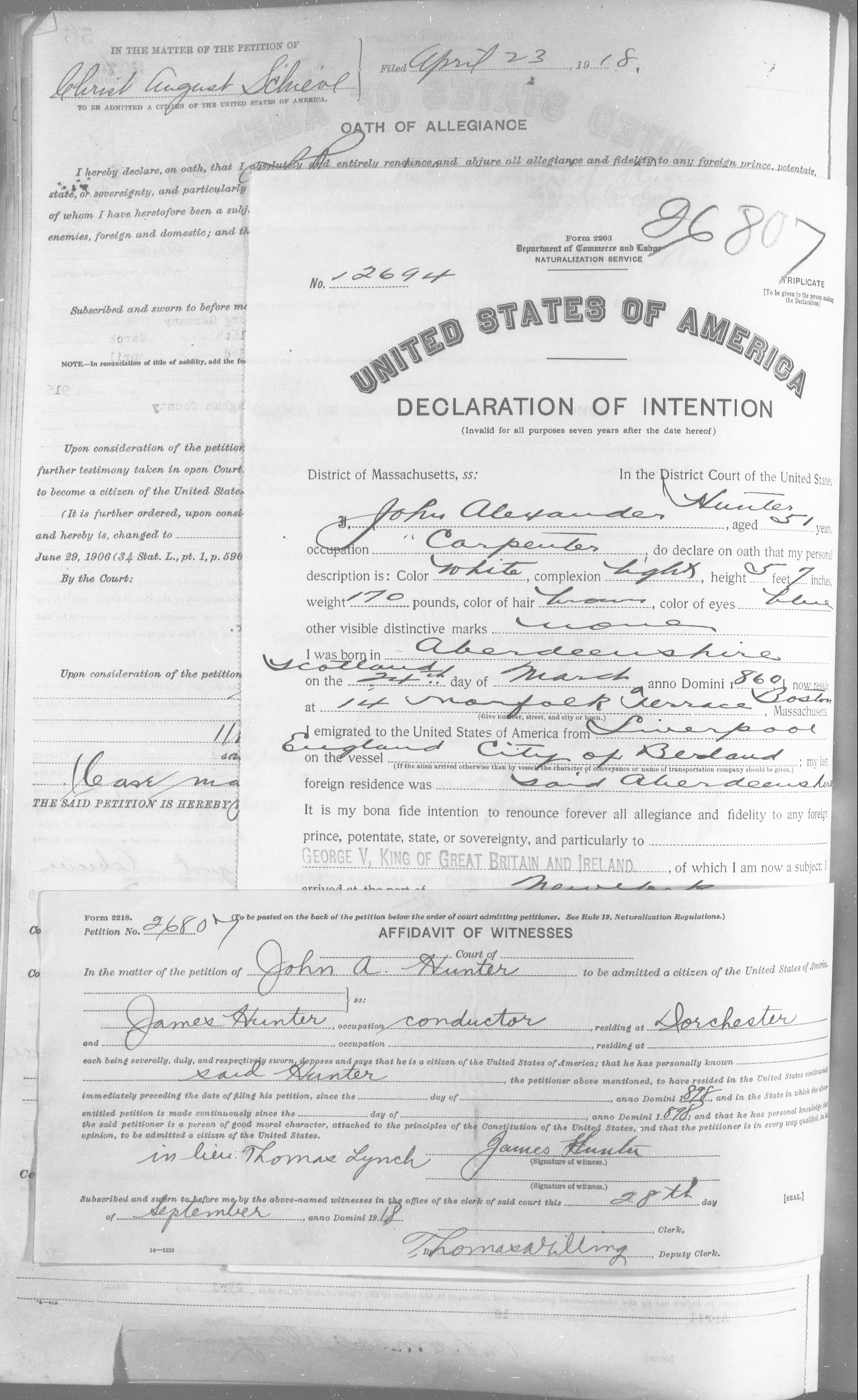 Petition for Naturalization of John A Hunter