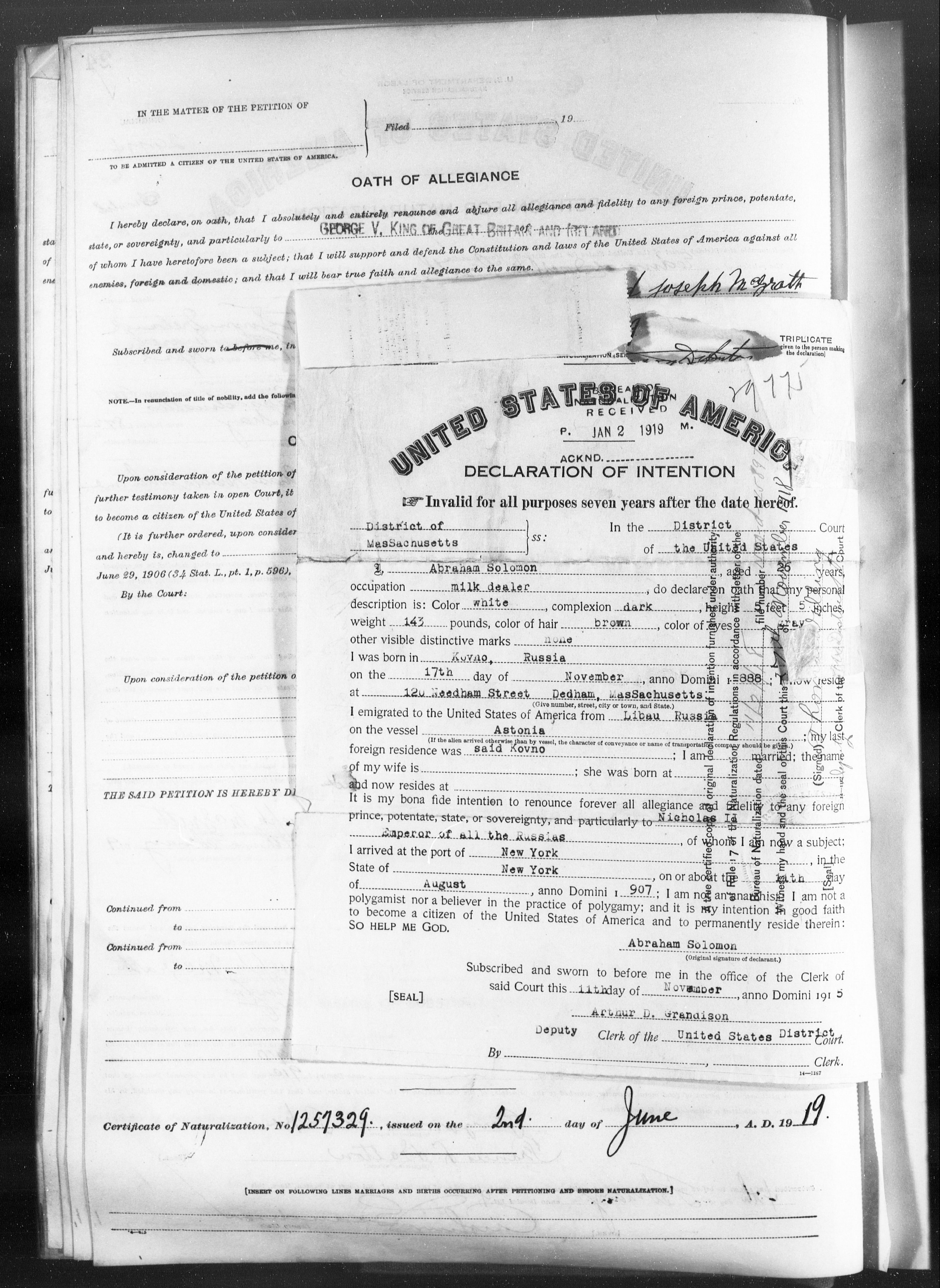 Petition for Naturalization of Abraham Solomon