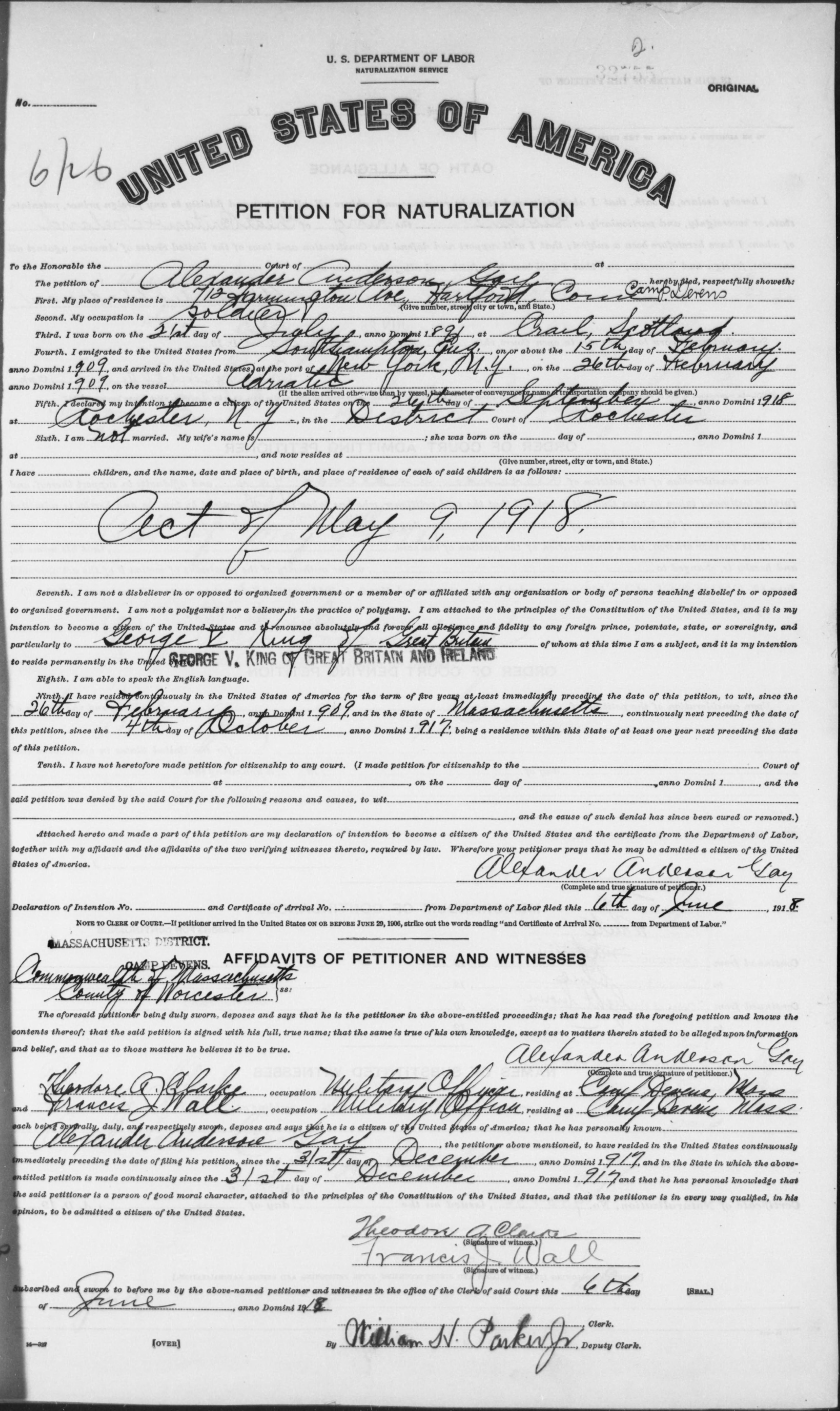 Petition for Naturalization of Alexander Anderson Gay