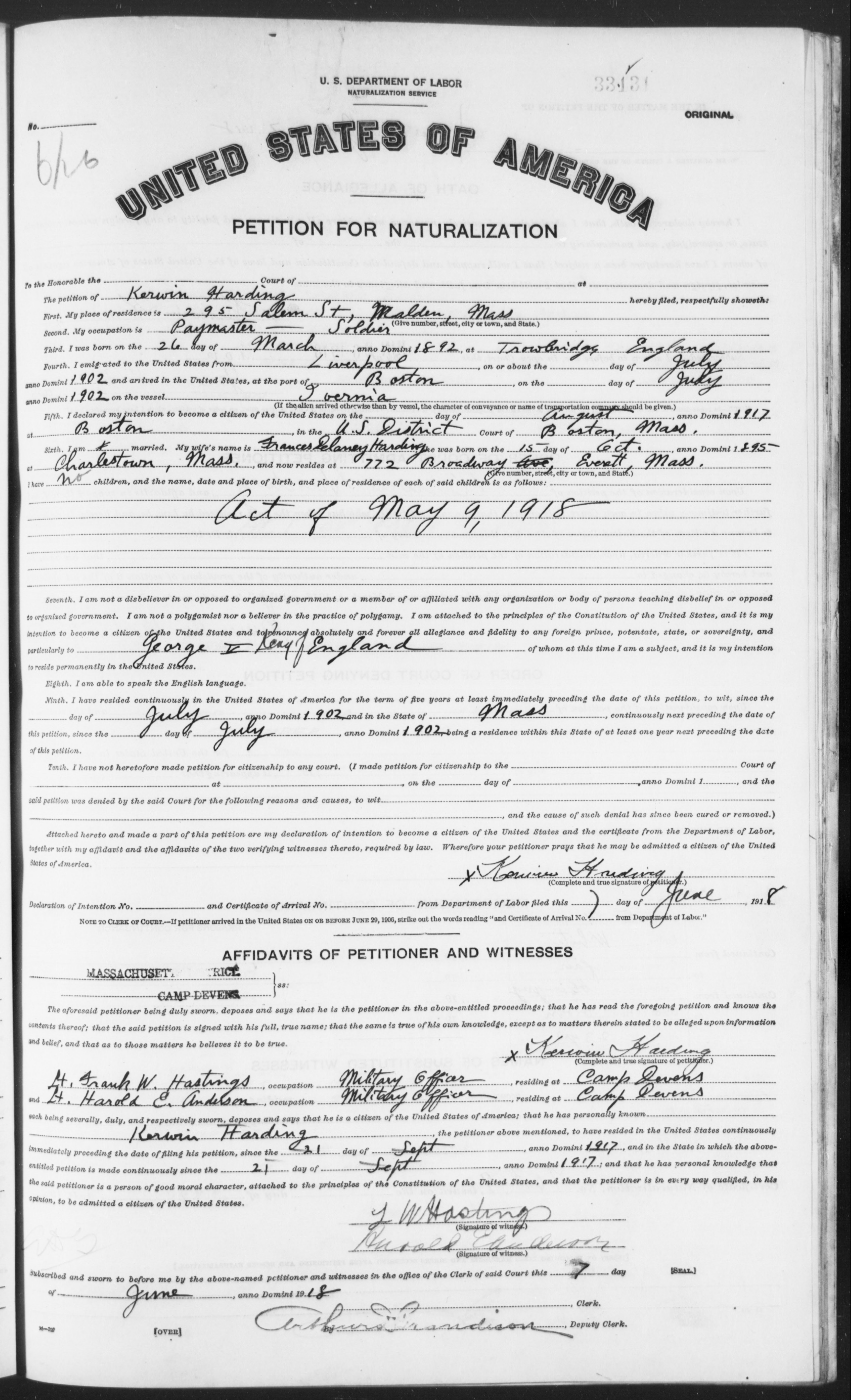 Petition for Naturalization of Kerwin Harding