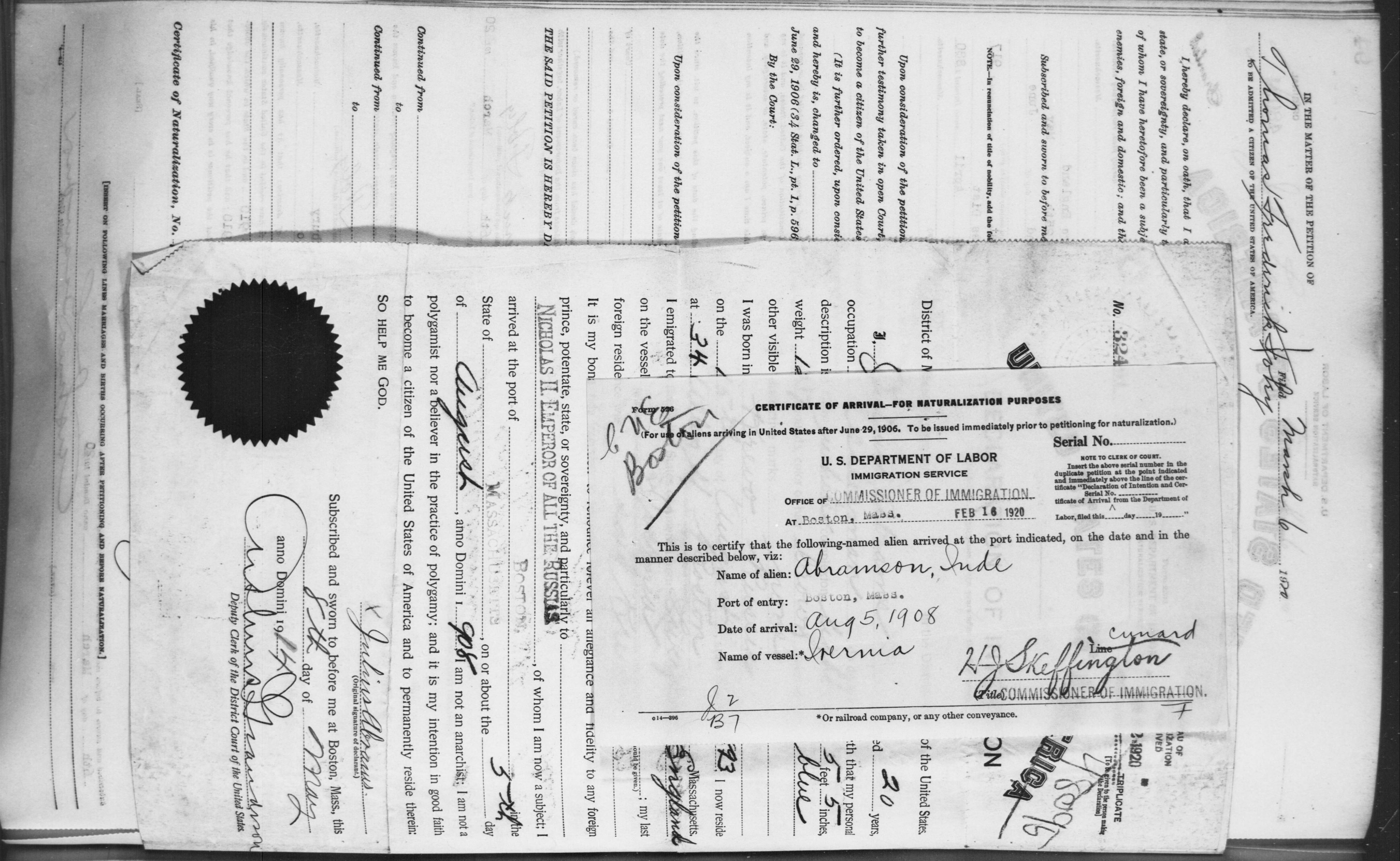 Petition for Naturalization of Abramson, Inde