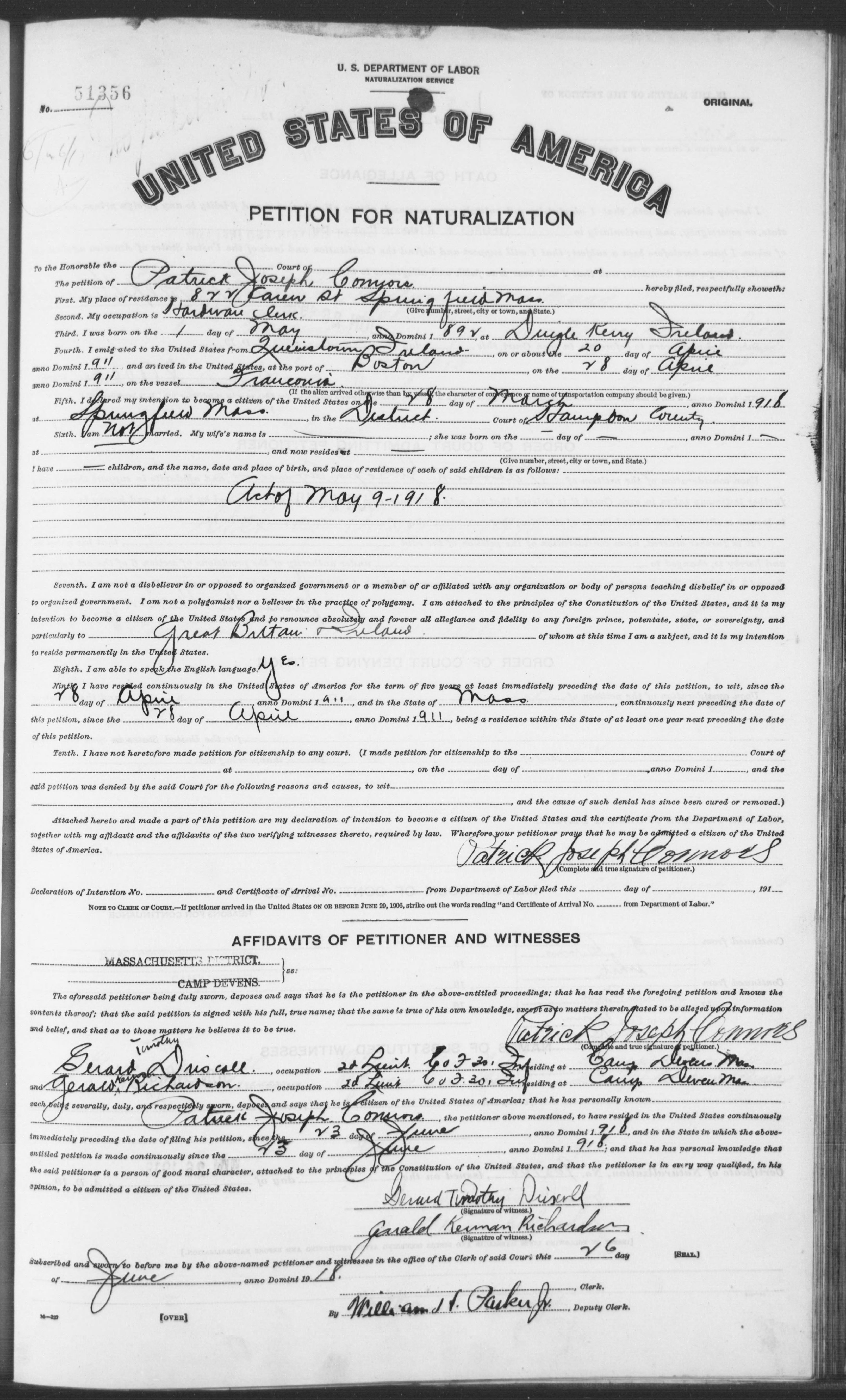 Petition for Naturalization of Patrick Joseph Connors