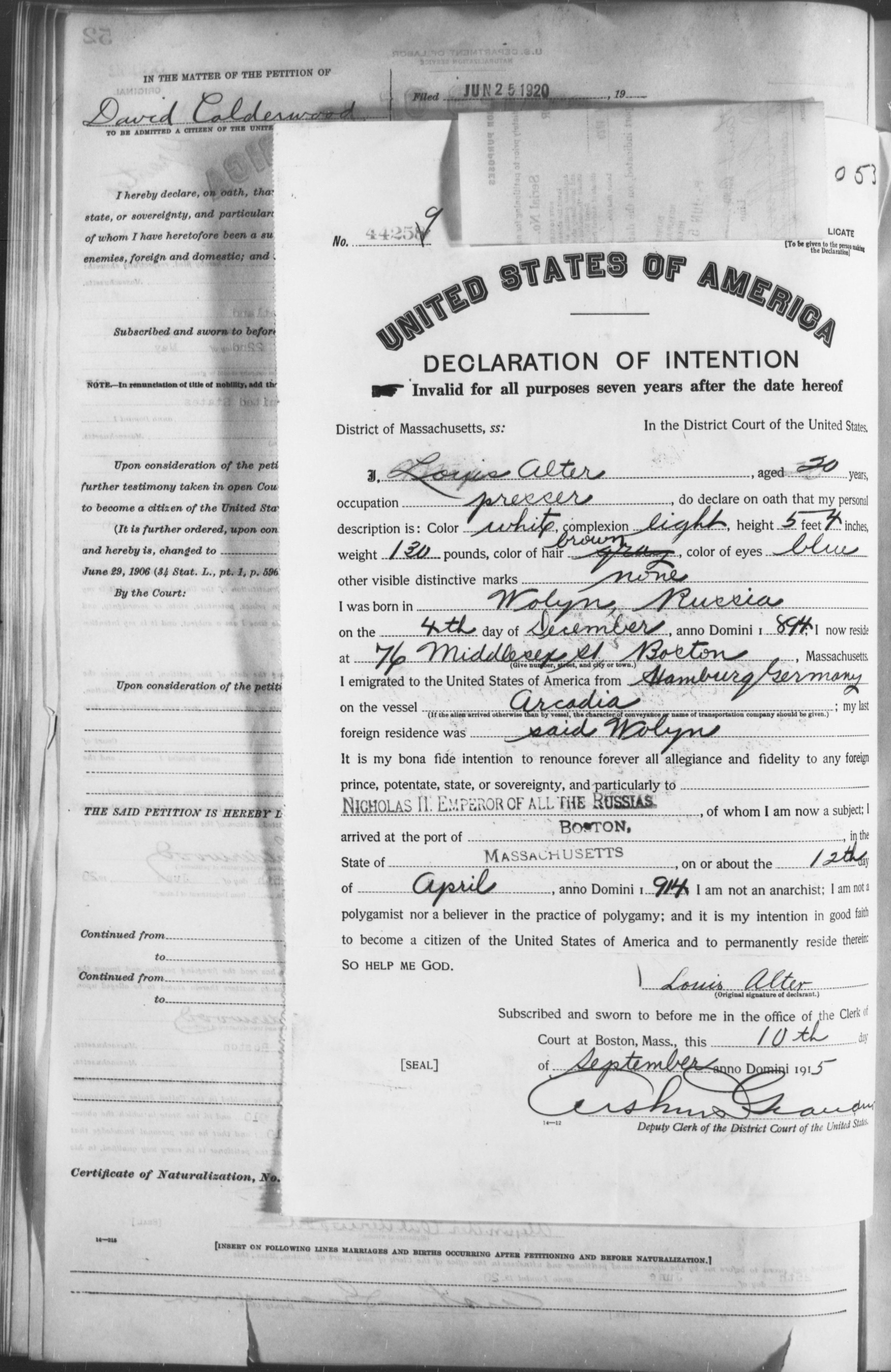 Petition for Naturalization of Louis Alter