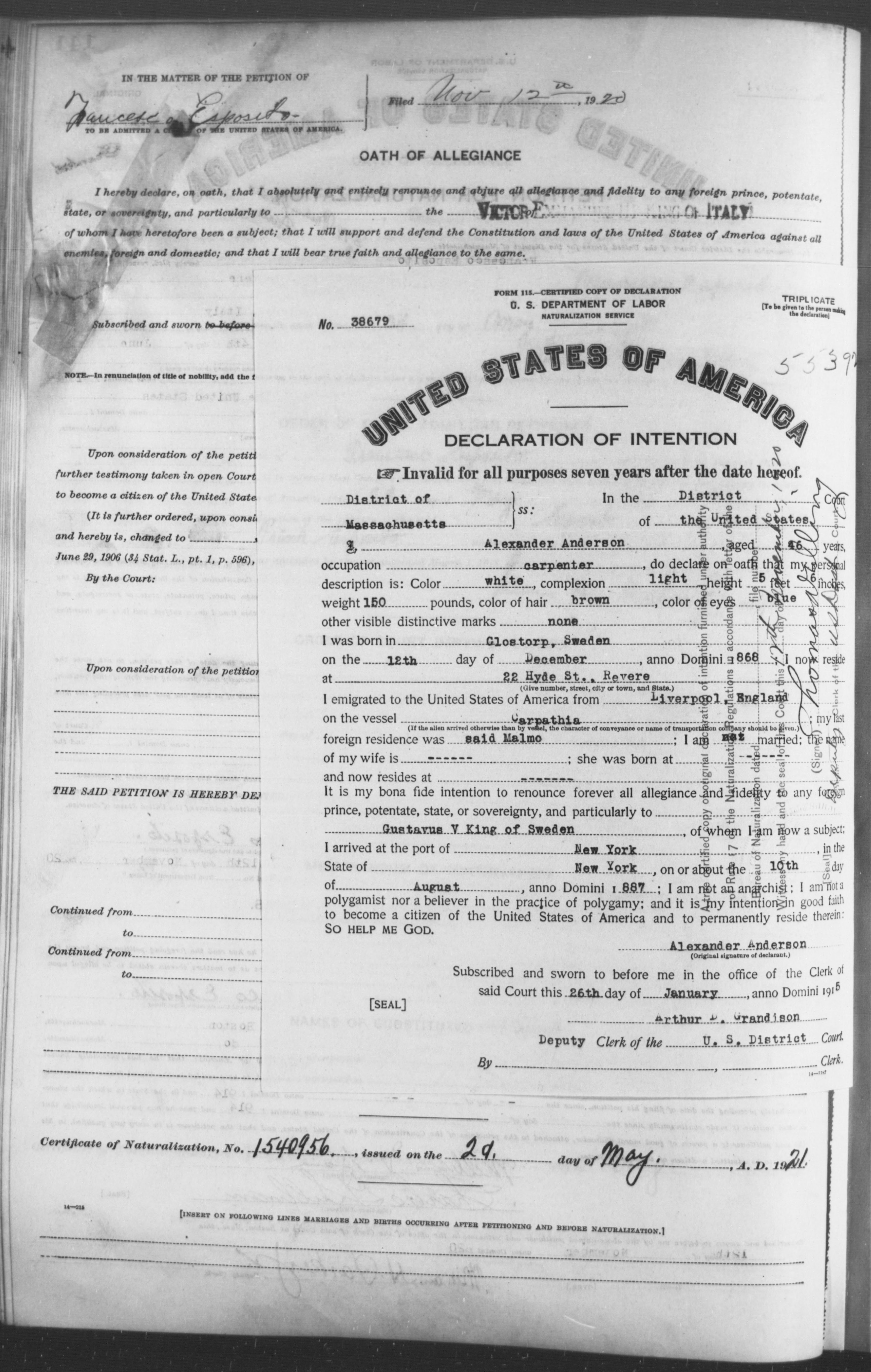 Petition for Naturalization of Alexander Anderson