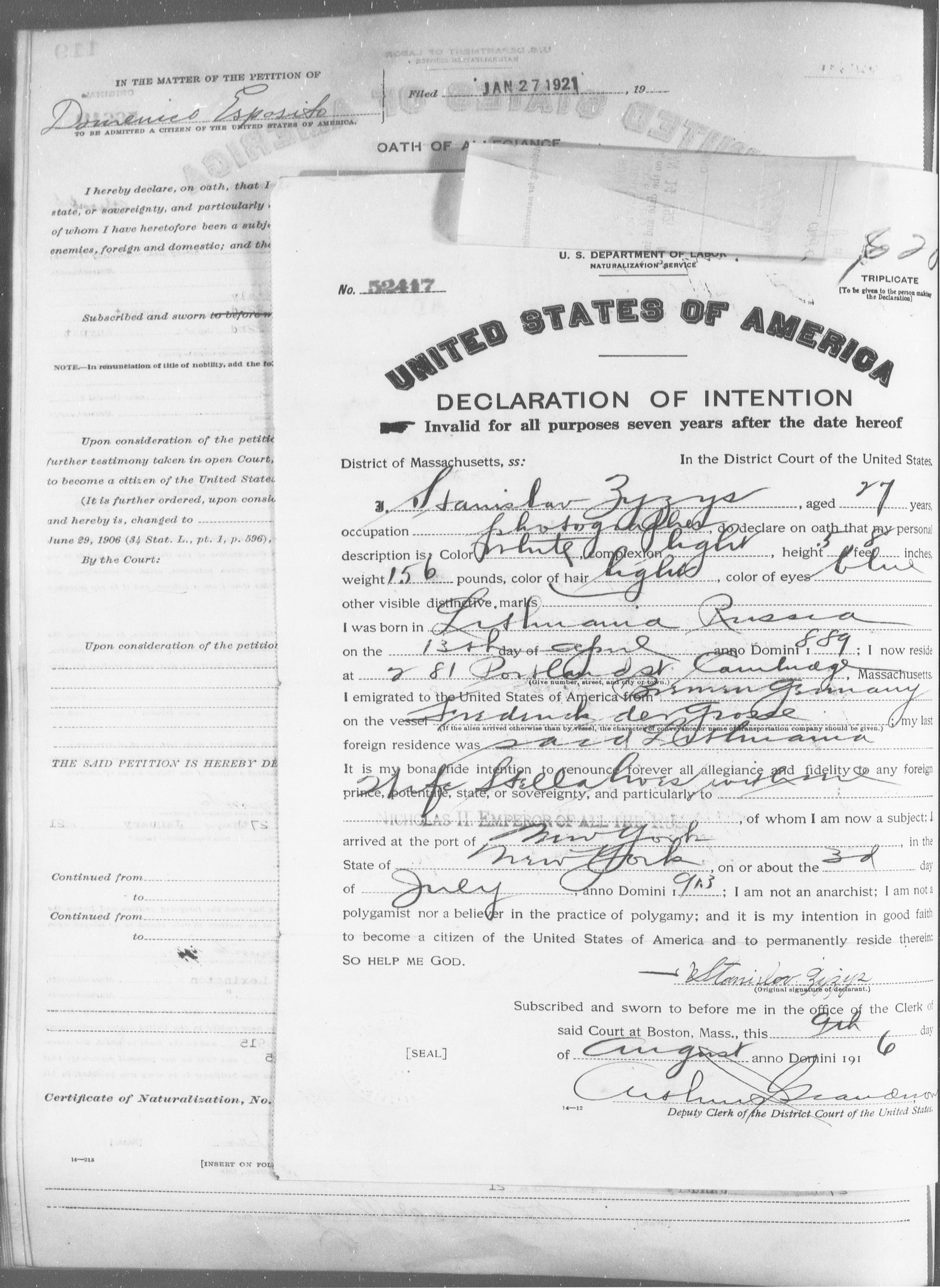 Petition for Naturalization of Stanislav Zyzys