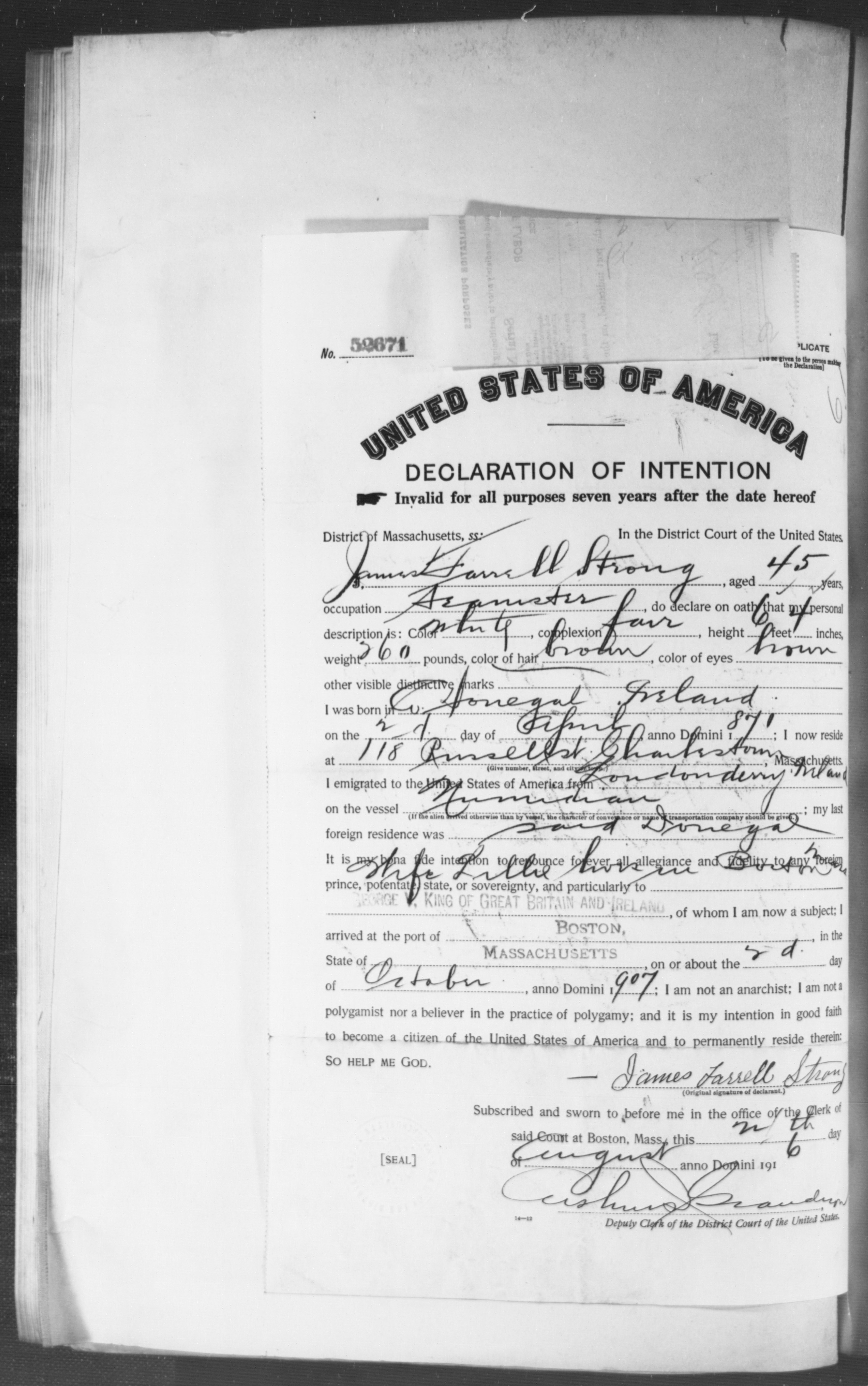 Petition for Naturalization of James Farrell Strong