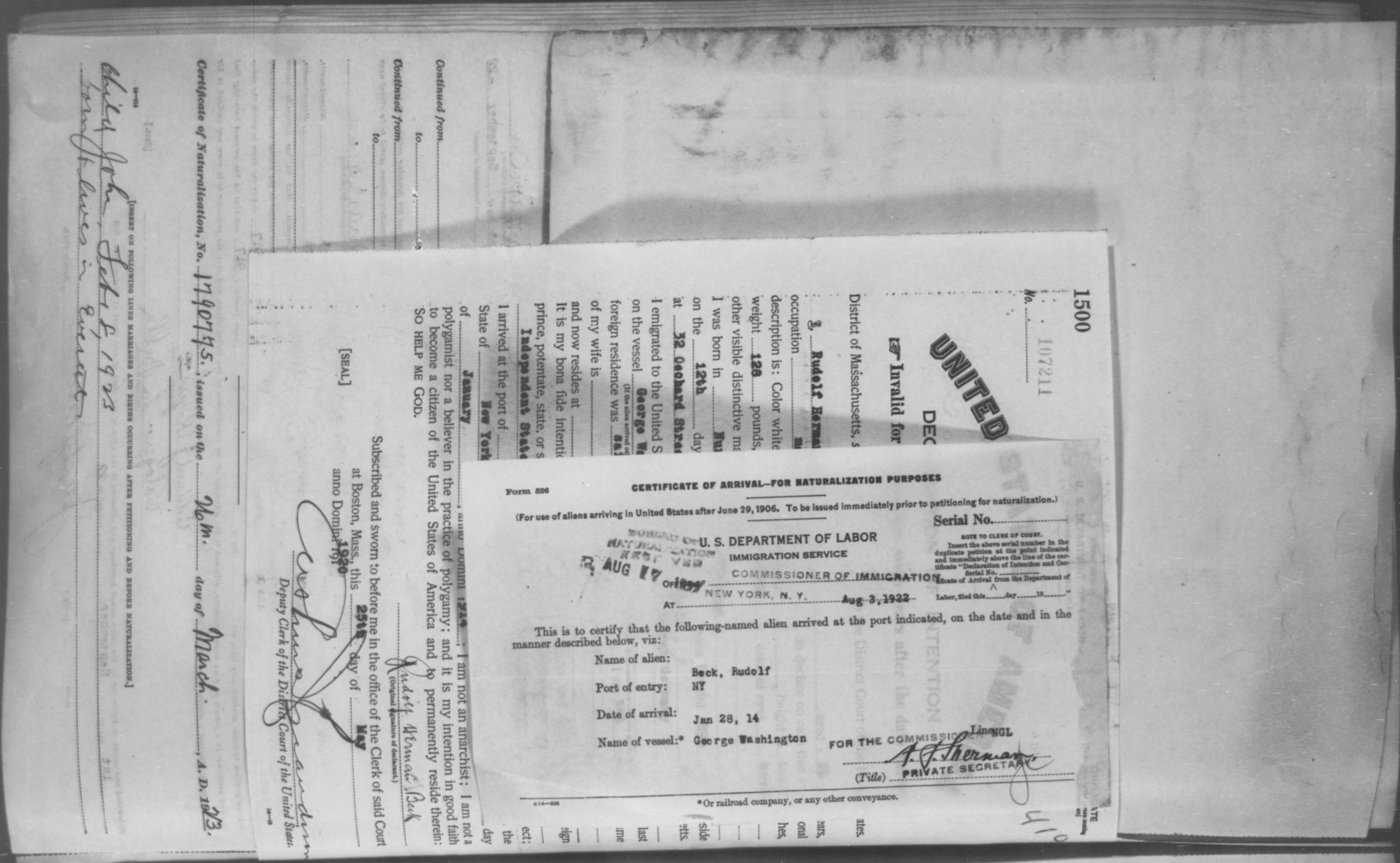 Petition for Naturalization of Beck, Rudolf