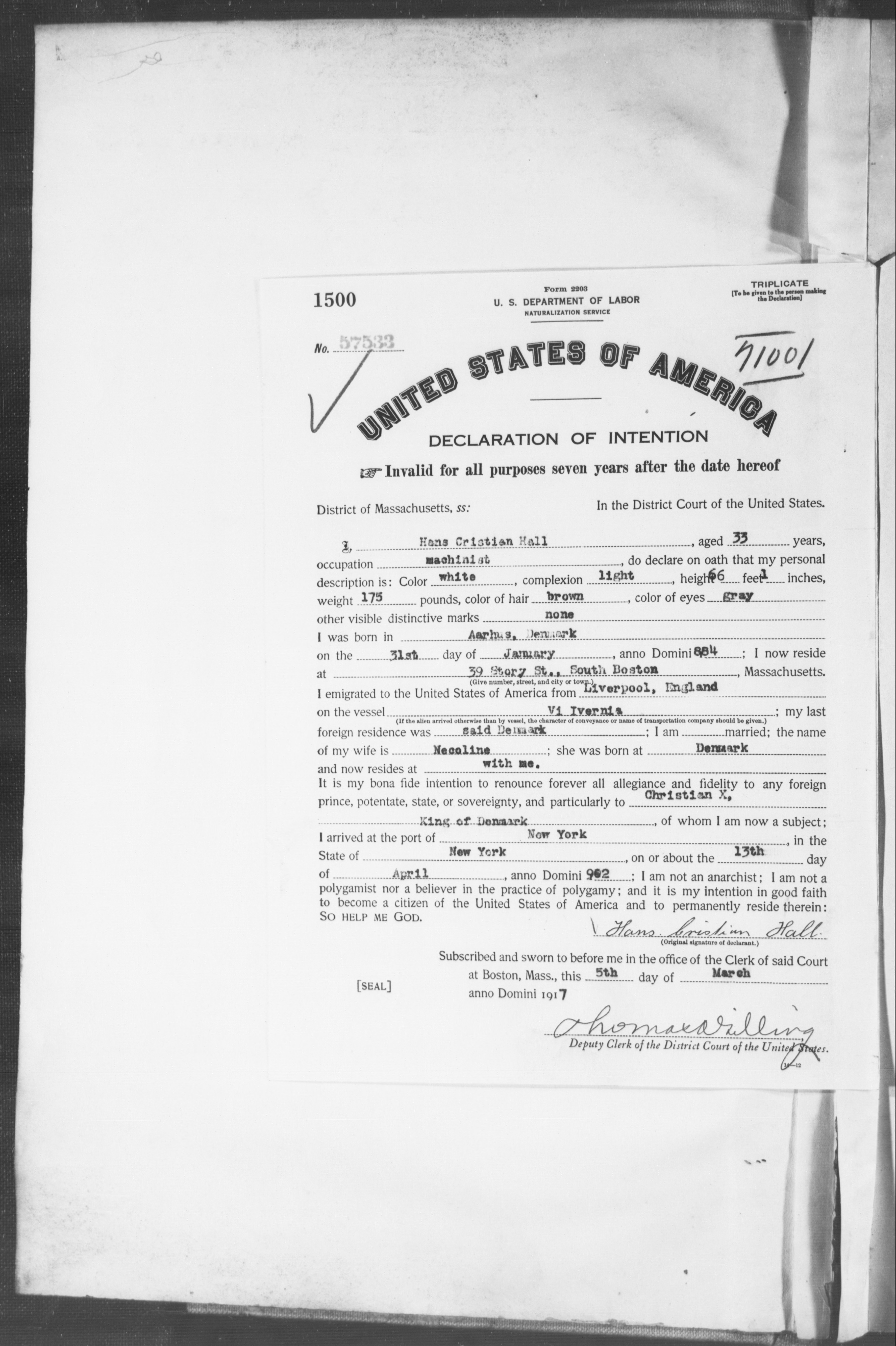 Petition for Naturalization of Hans Cristian Hall