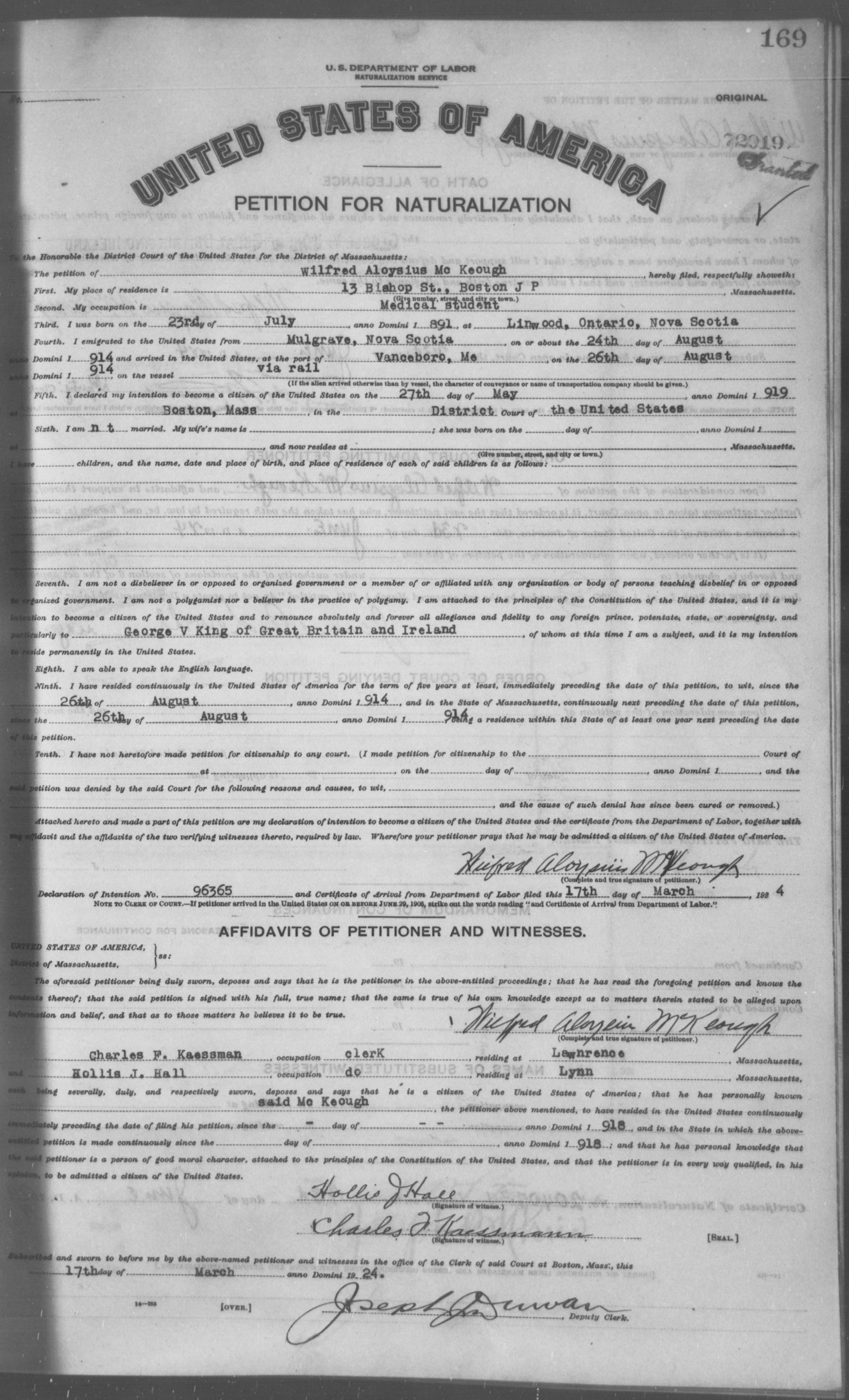 Petition for Naturalization of Wilfred Aloysius Mc Keough