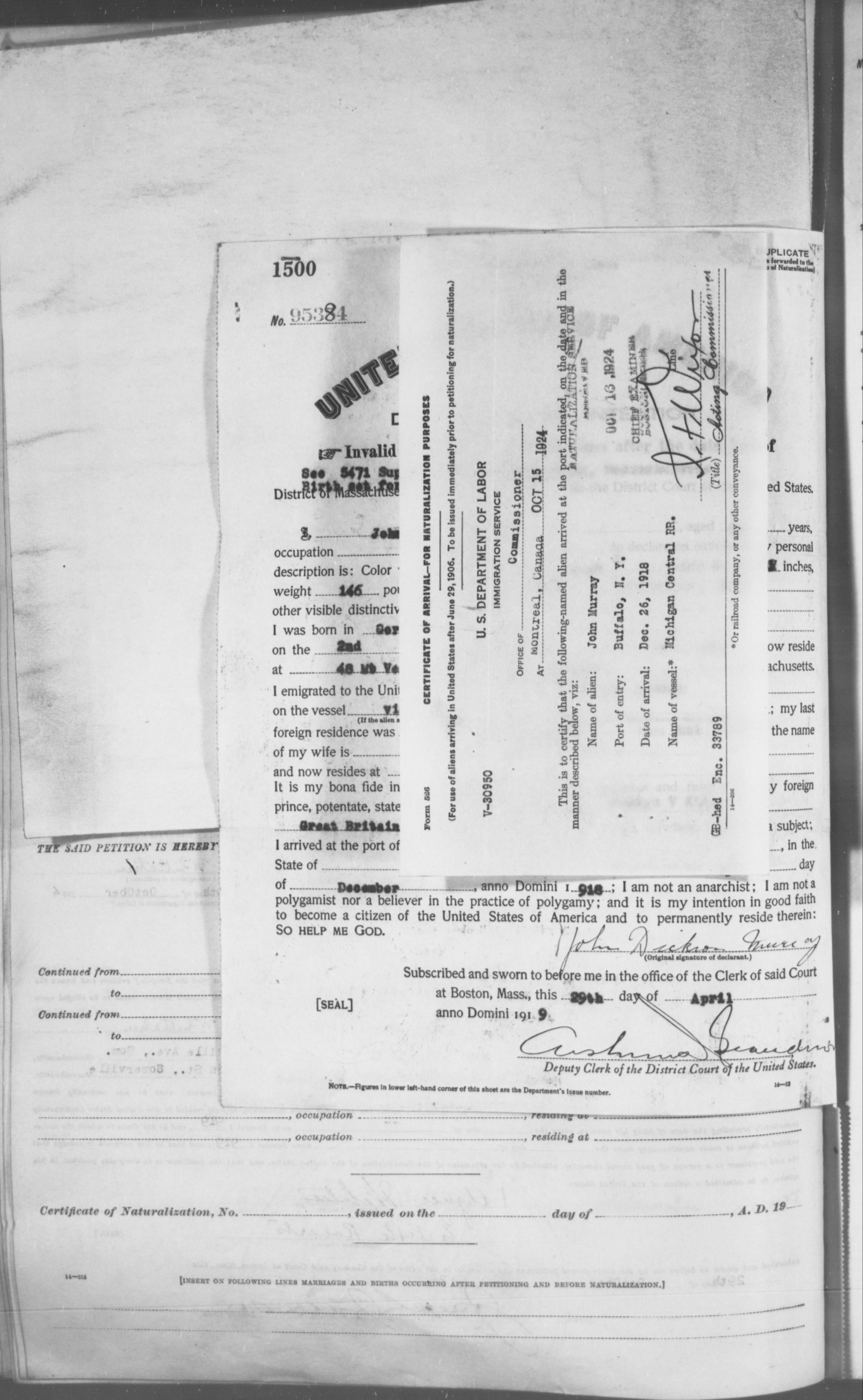 Petition for Naturalization of John Murray