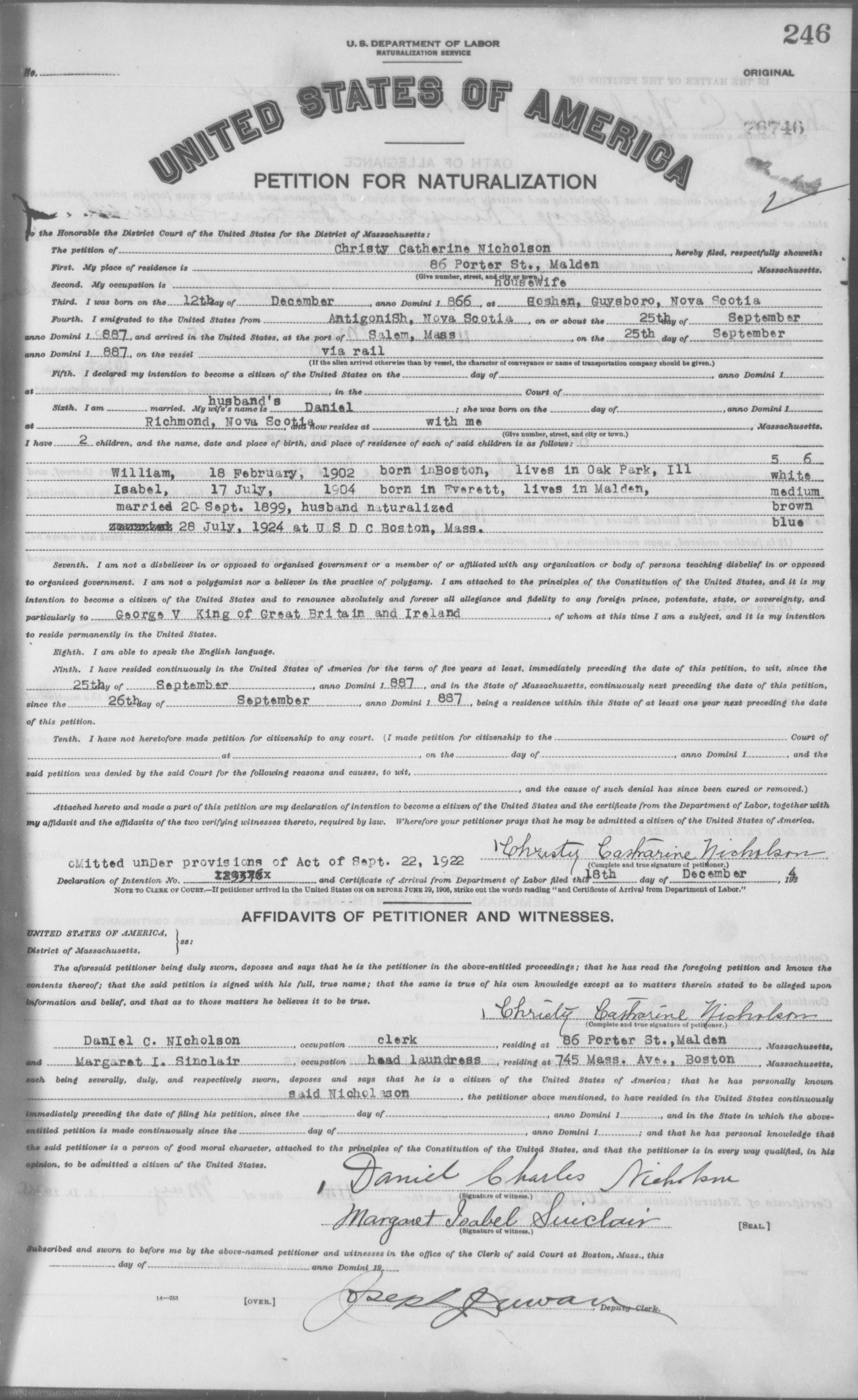 Petition for Naturalization of Christy Catherine Nicholson