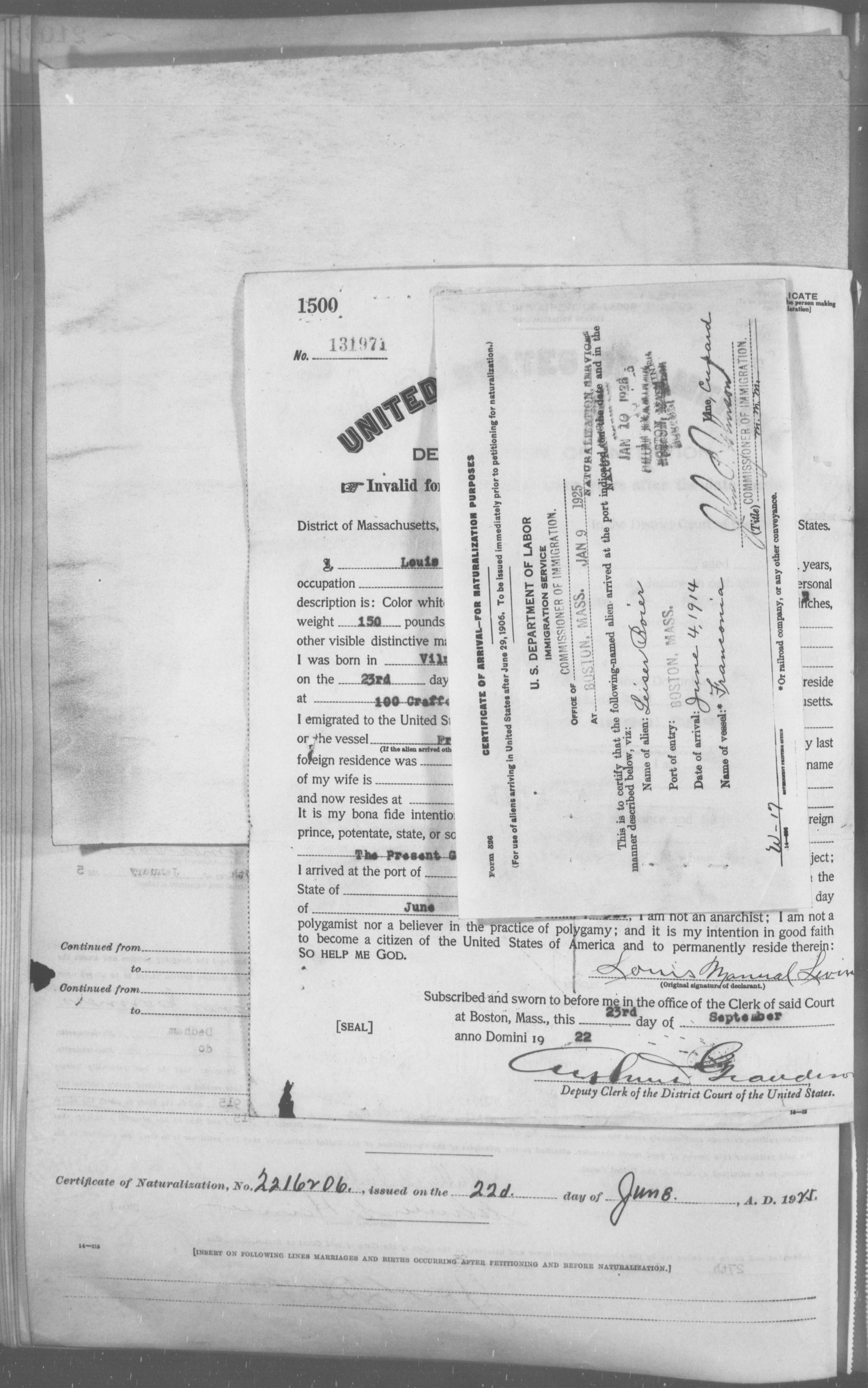 Petition for Naturalization of Leiser Boier