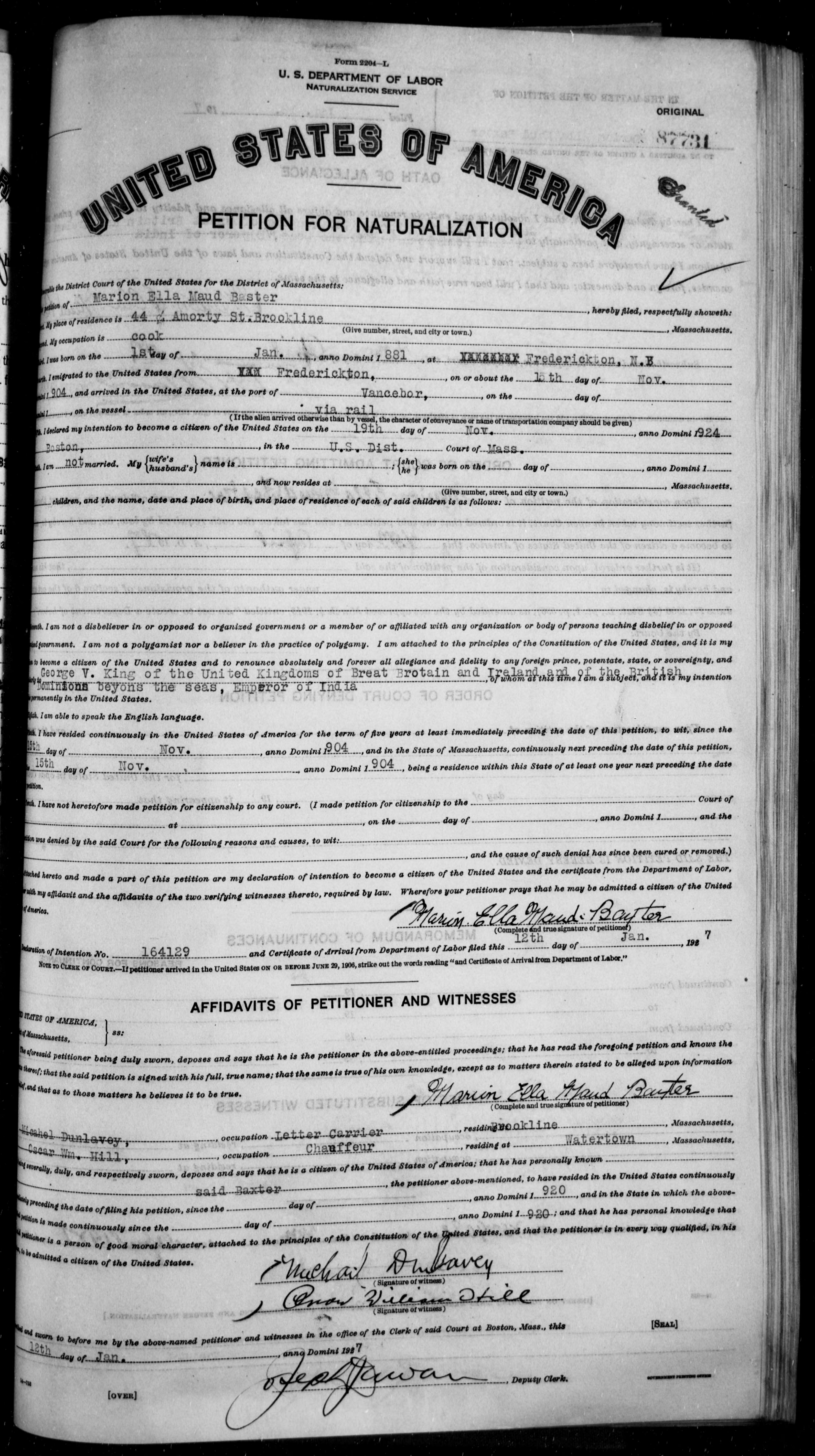 Petition for Naturalization of Marion Ella Maud Baster