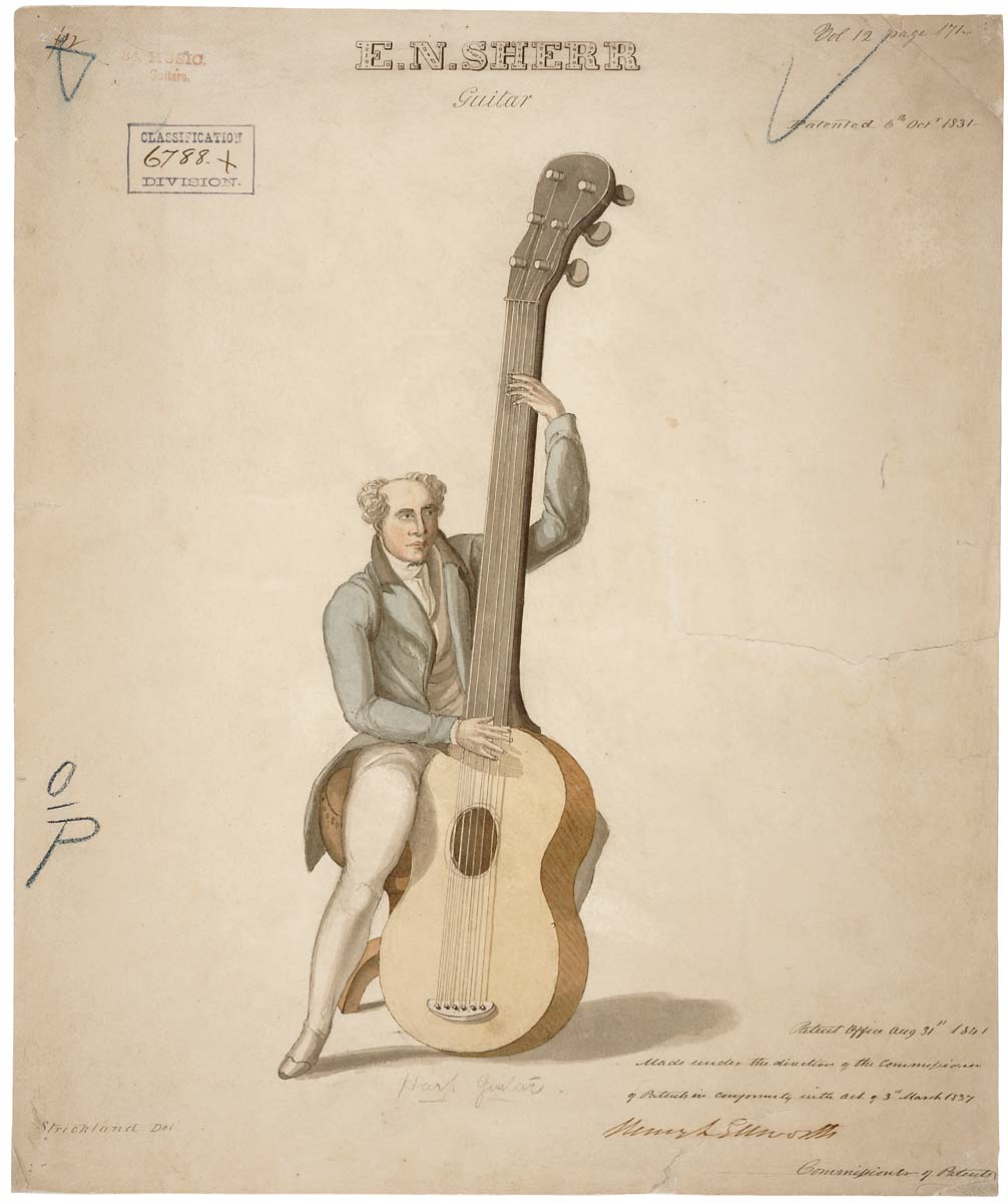 Guitar Engineering Drawing Drawing of a Harp Guitar