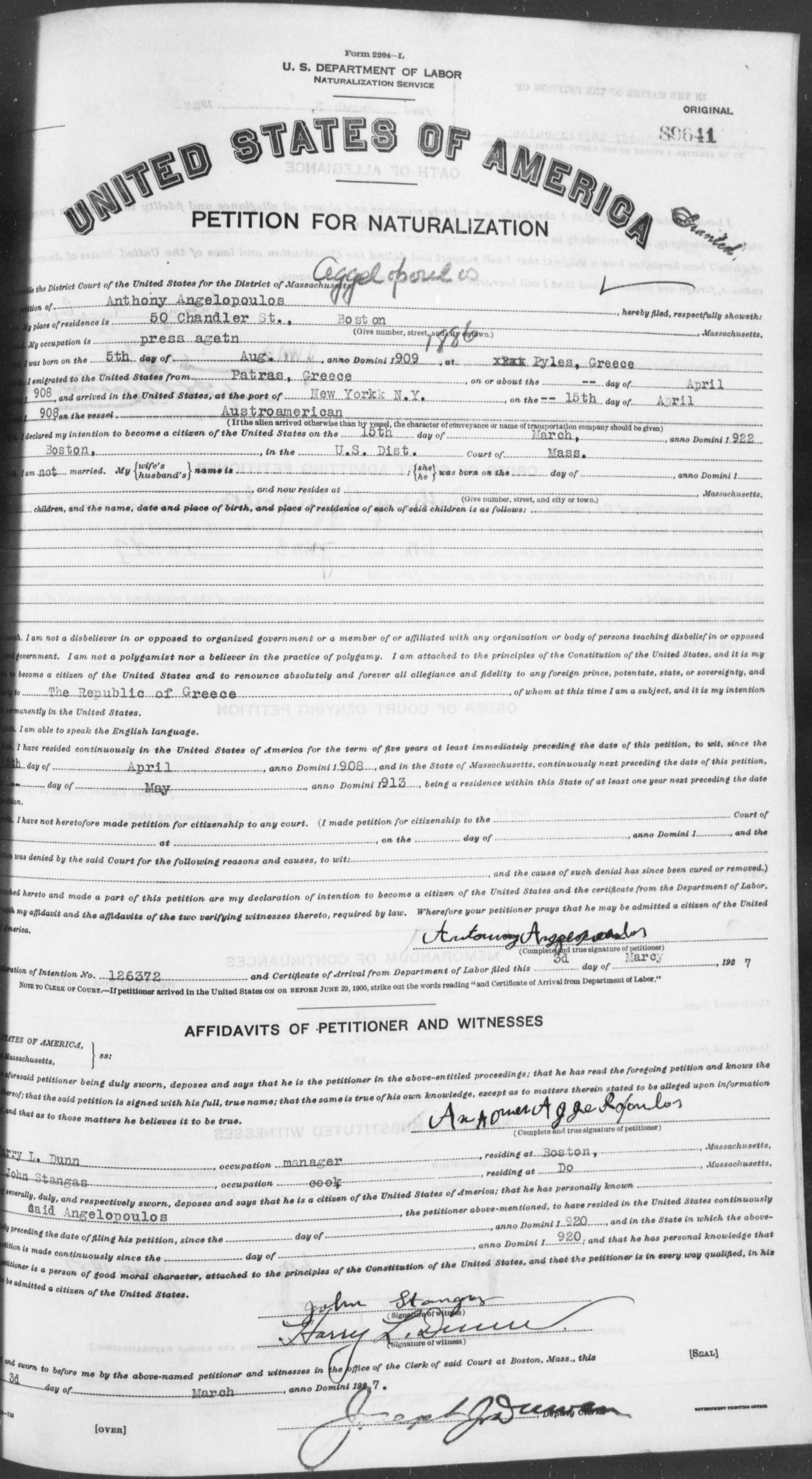 Petition for Naturalization of Anthony Angelopoulos