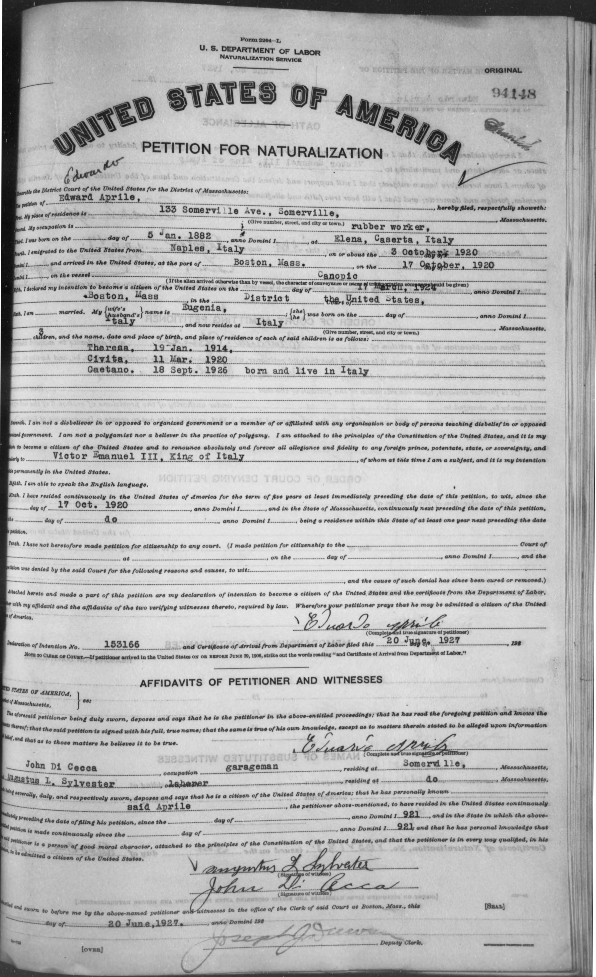 Petition for Naturalization of Edward Aprile