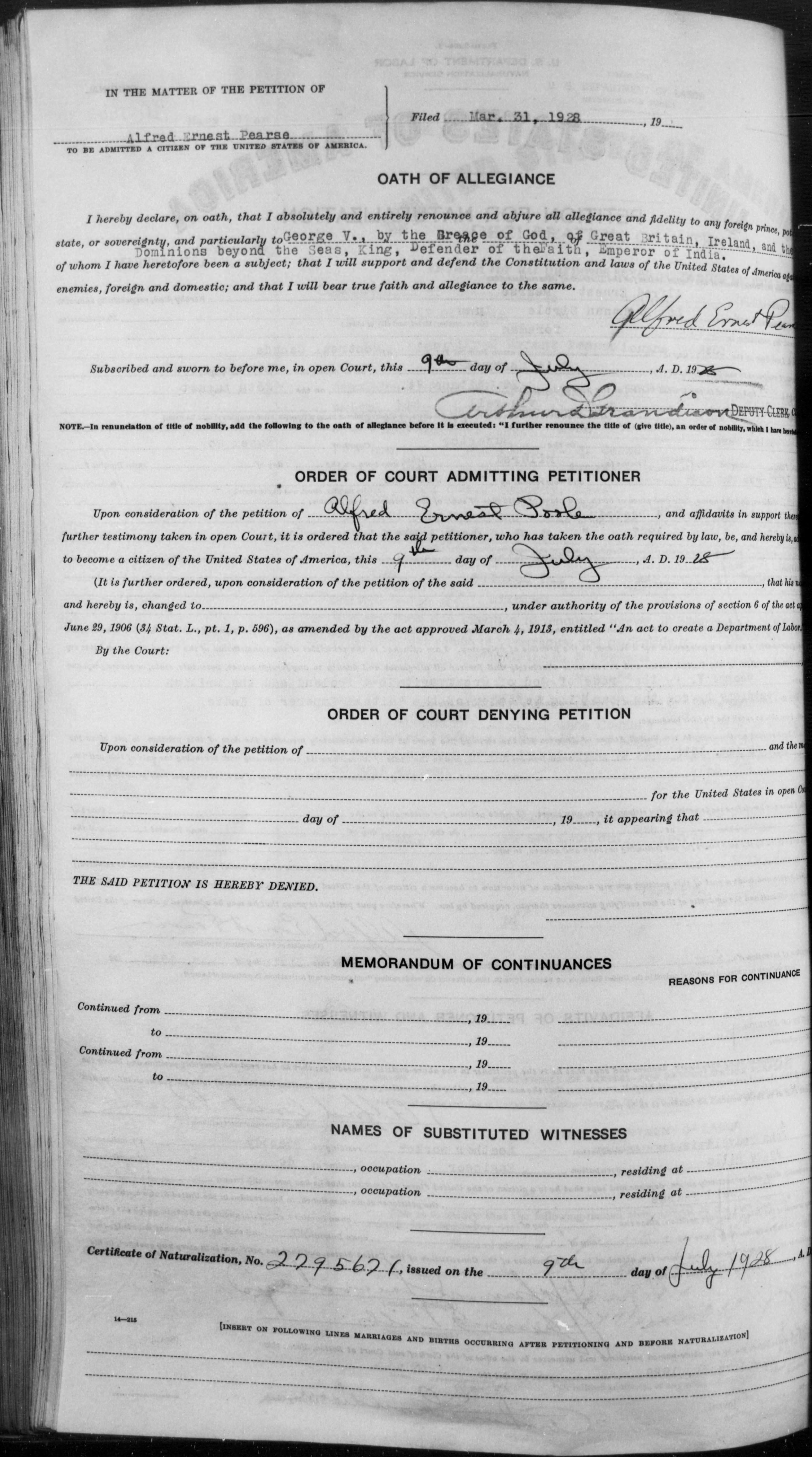 Petition for Naturalization of Alfred Ernest Poole