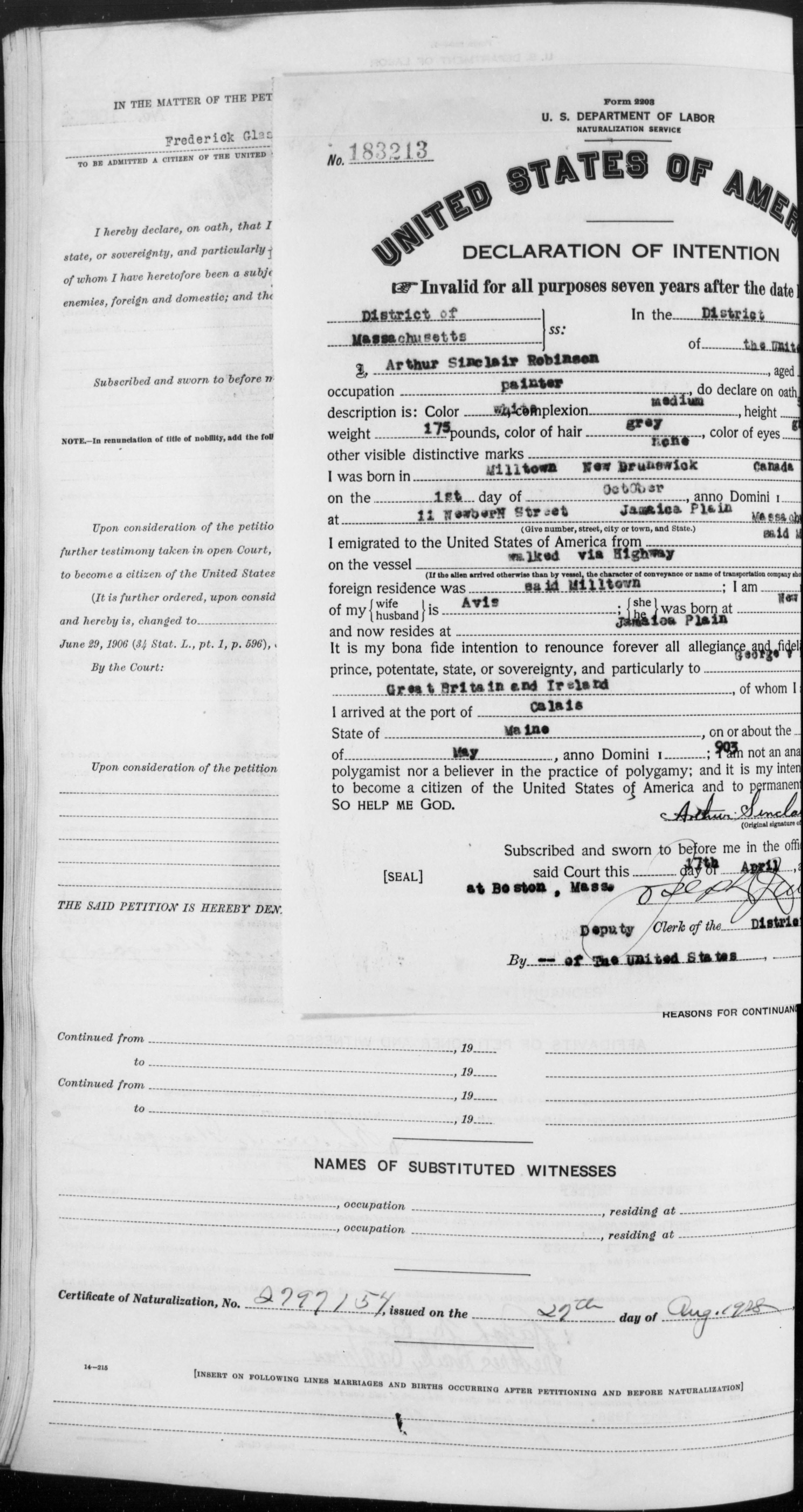 Petition for Naturalization of Arthur Sinclair Robinson