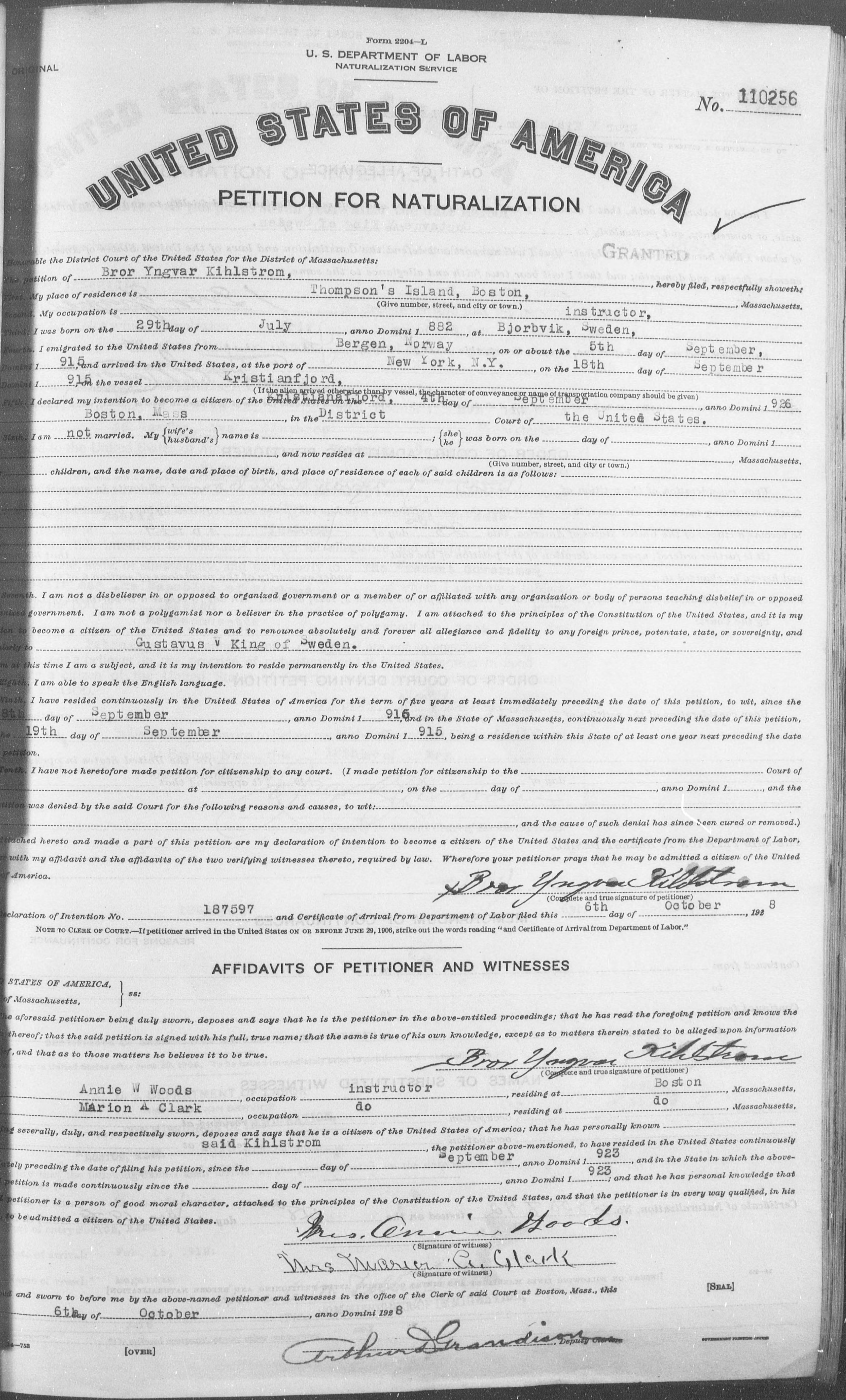 Petition for Naturalization of Bror Yngvar Kihlstrom