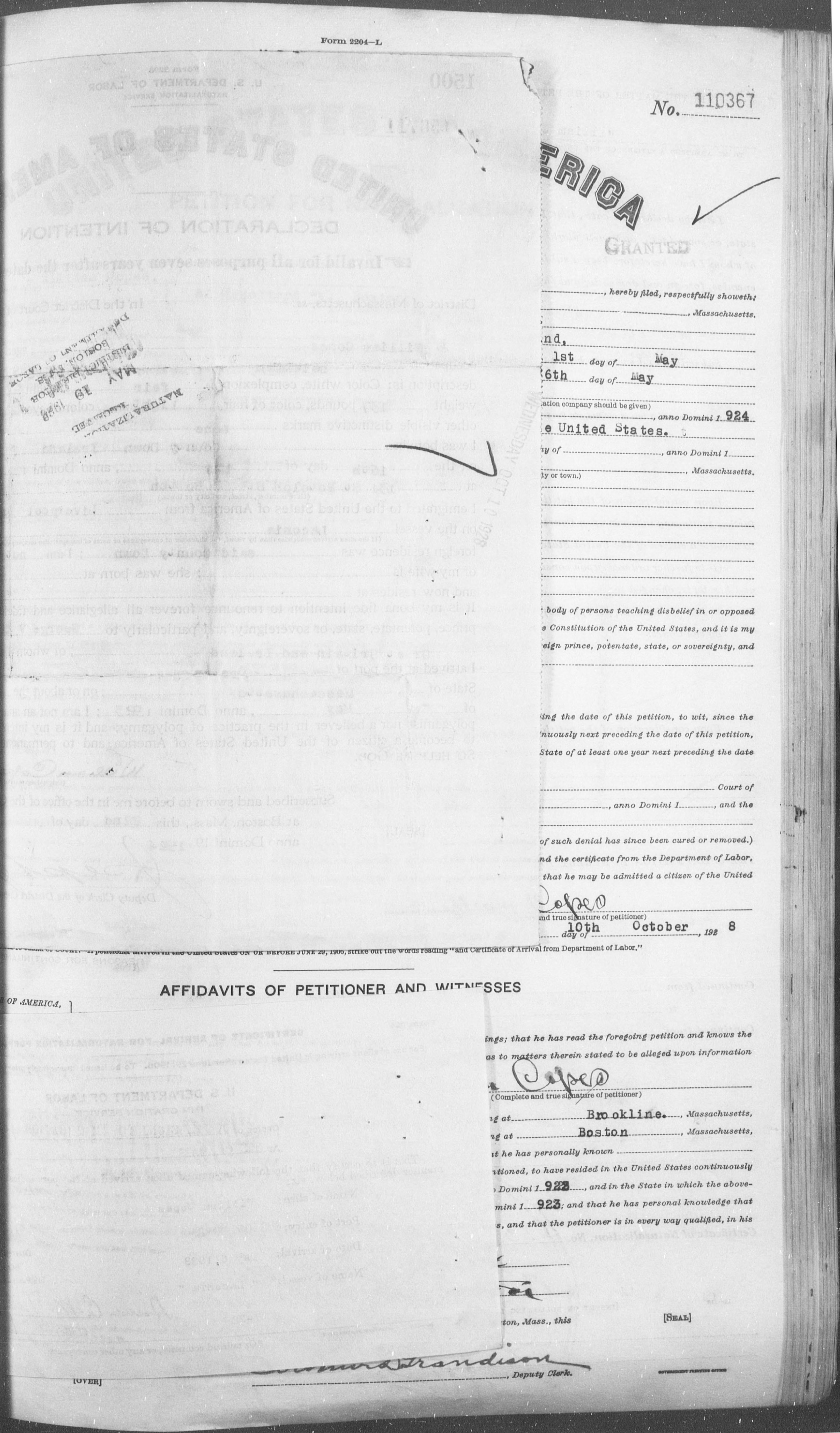 Petition for Naturalization of William Copes