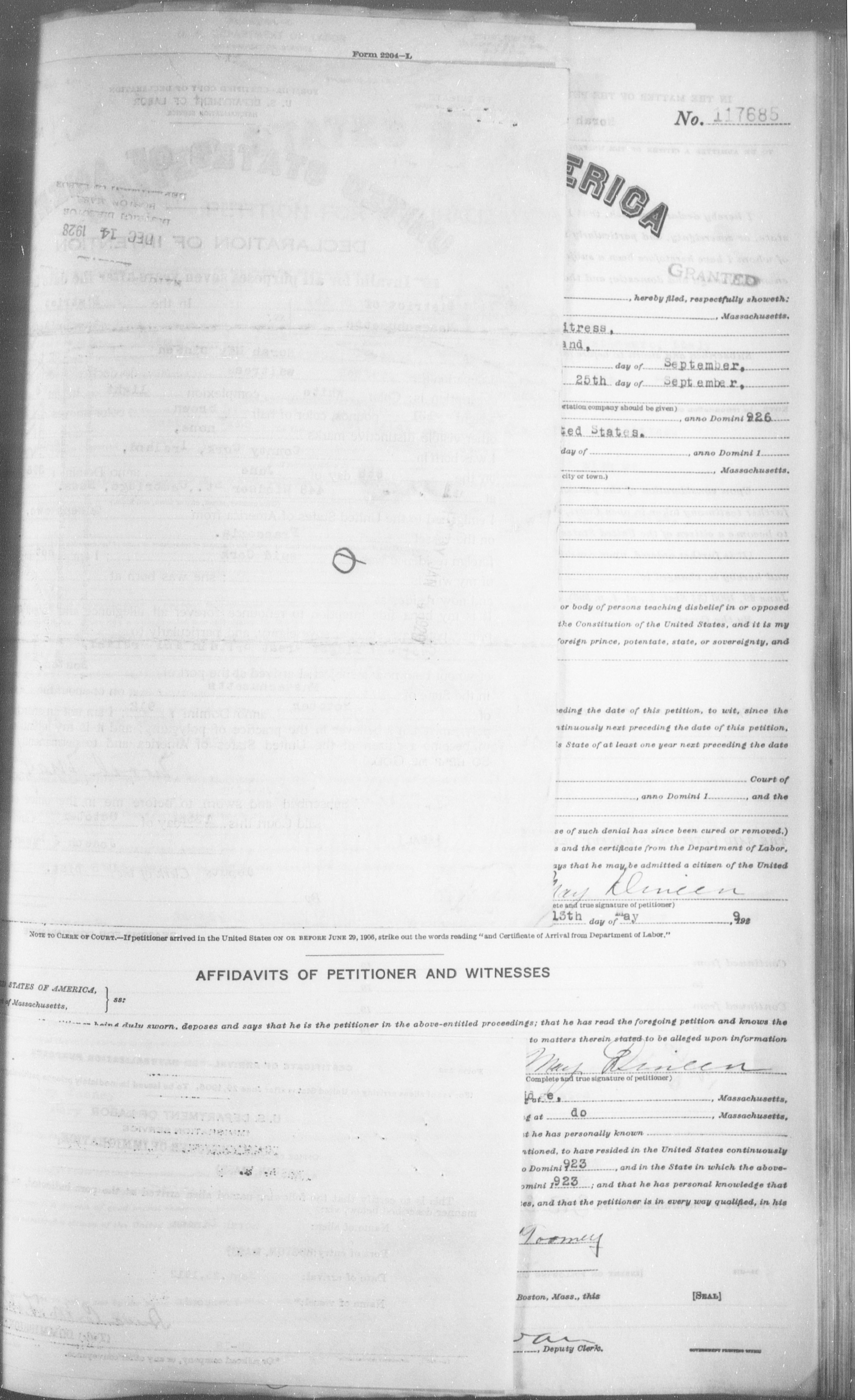 Petition for Naturalization of Nora May Dineen