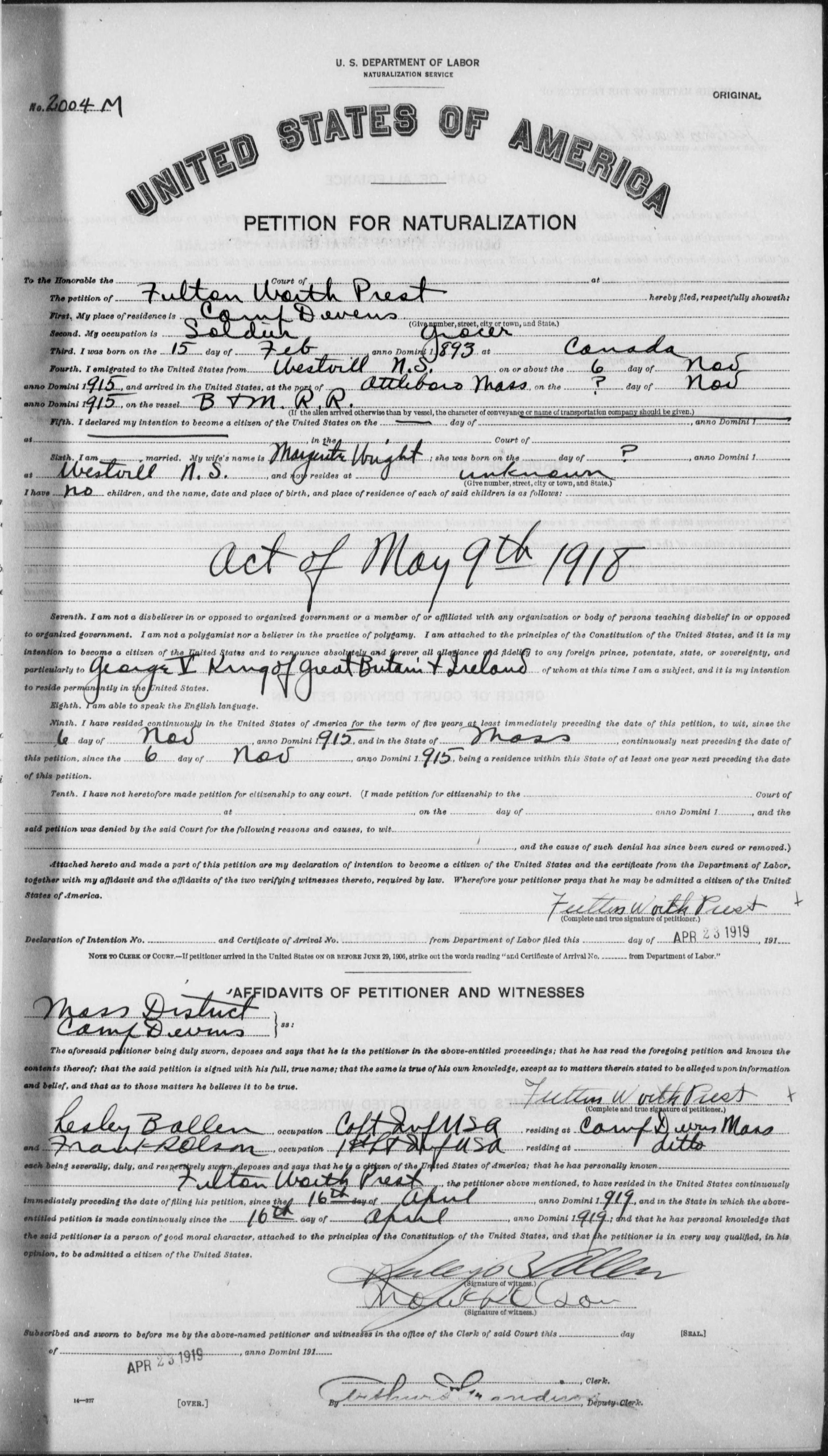 Petition for Naturalization of Fulton Worth Prest