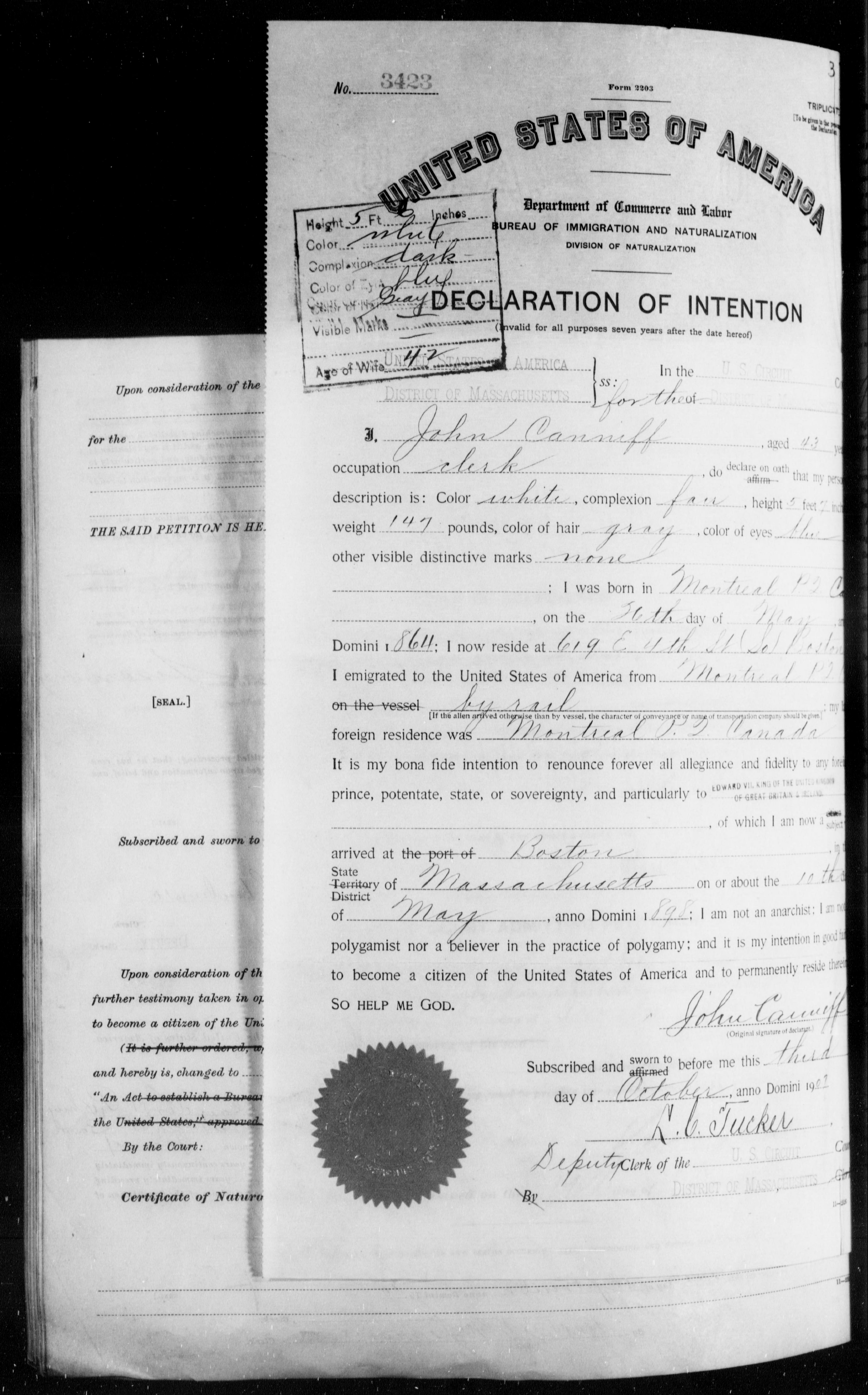 Petition for Naturalization of John Canniff