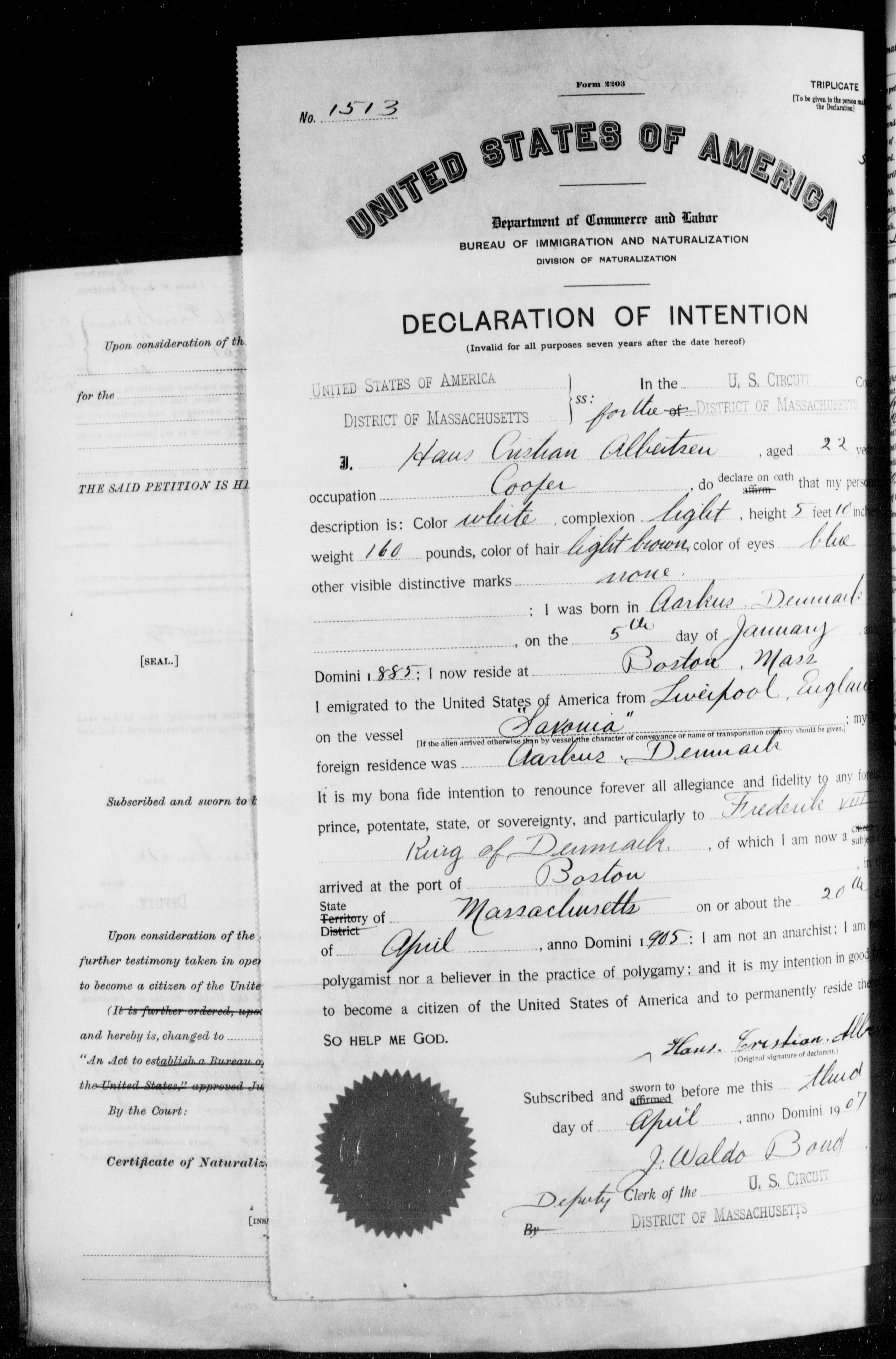 Petition for Naturalization of Hans Cristian Albertsen
