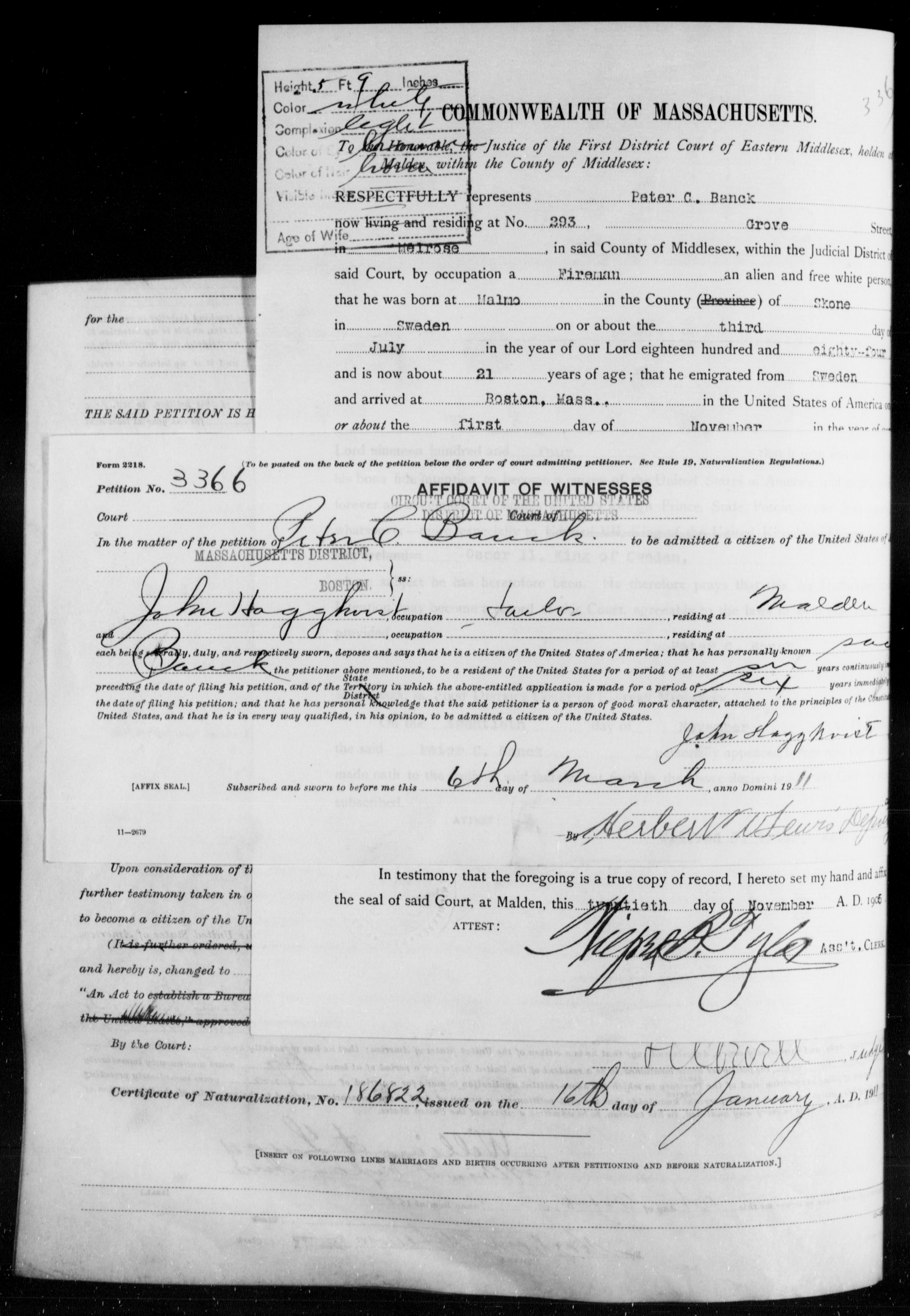 Petition for Naturalization of Peter Cristian Banck