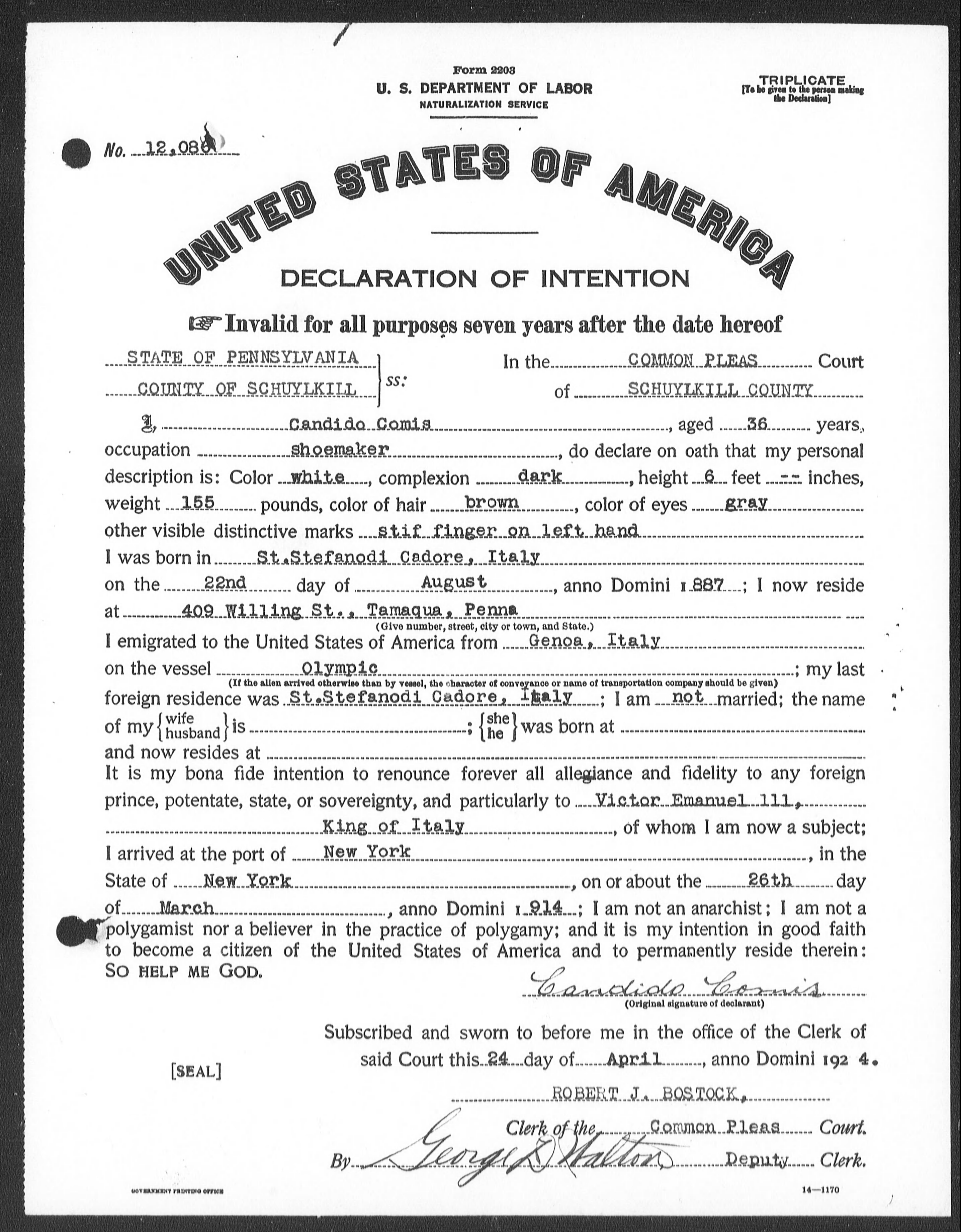 Petition for Naturalization of Candido Comis