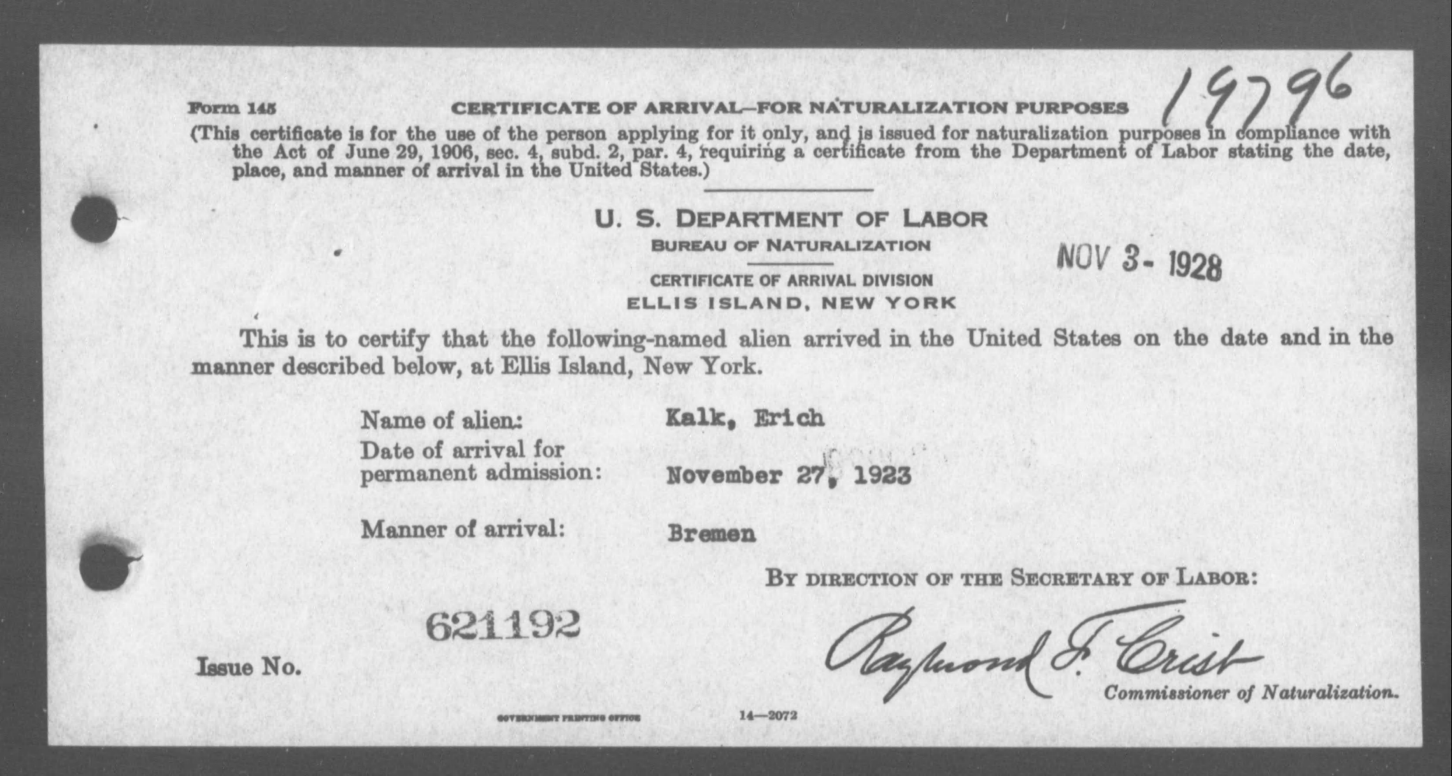 Petition for Naturalization of Kalk, Erich