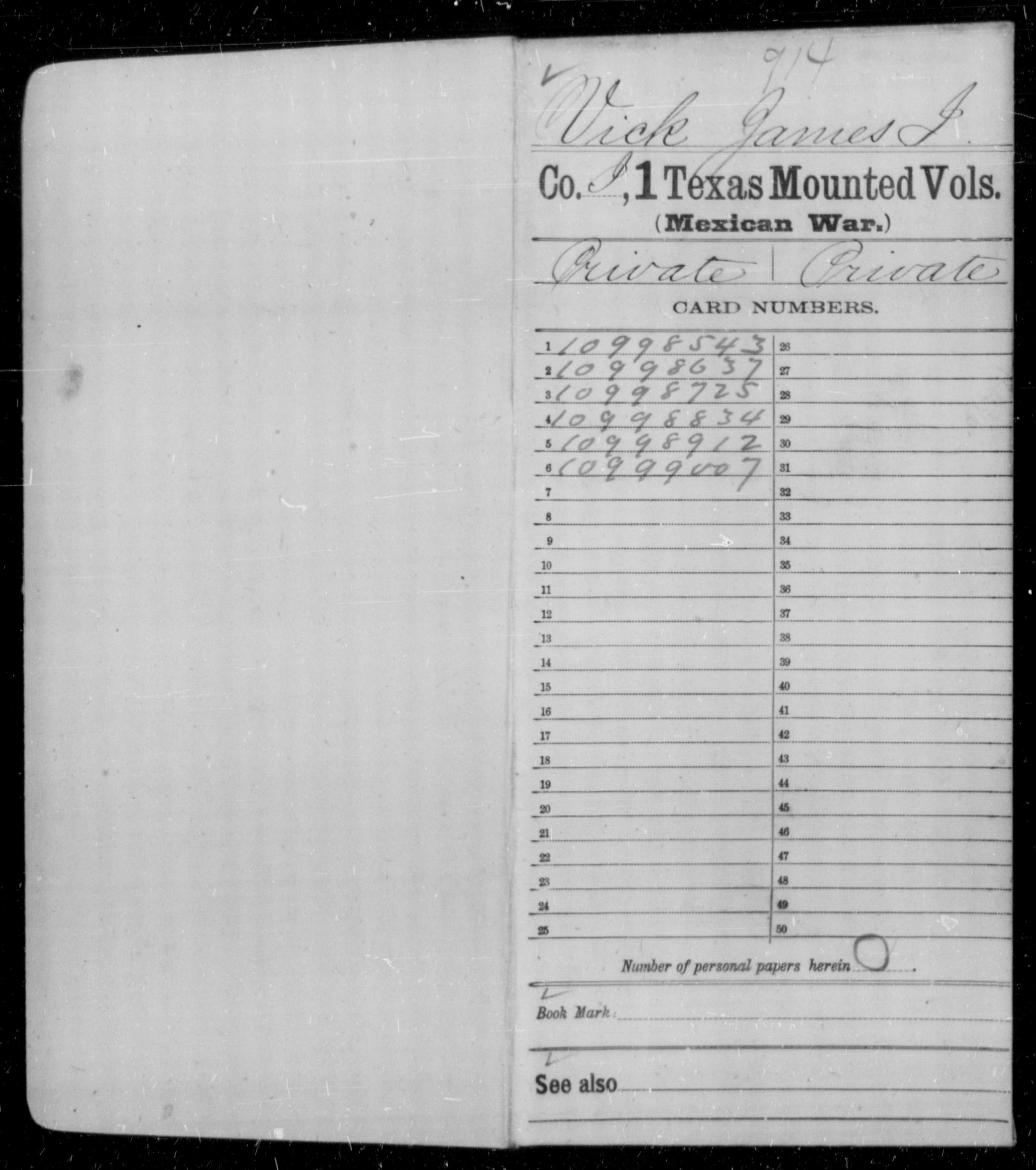 Volunteer Soldiers from Texas: First Texas Mounted Volunteers, Company I - James I Vick (Age: 28, Year: 1847)
