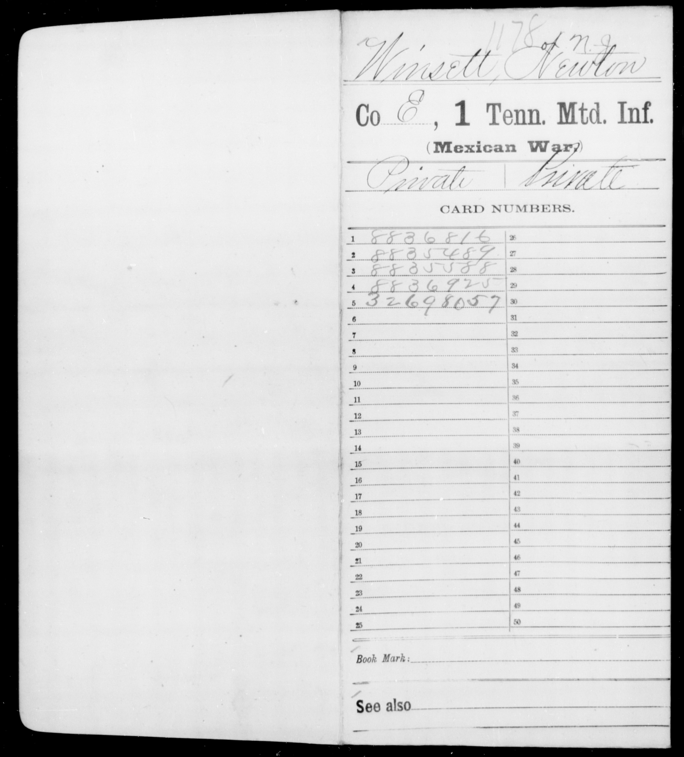 Volunteers from the State of Tennessee: First Mounted Infantry, Company E - Newton J Winsett (Age: [Blank], Year: 1846)