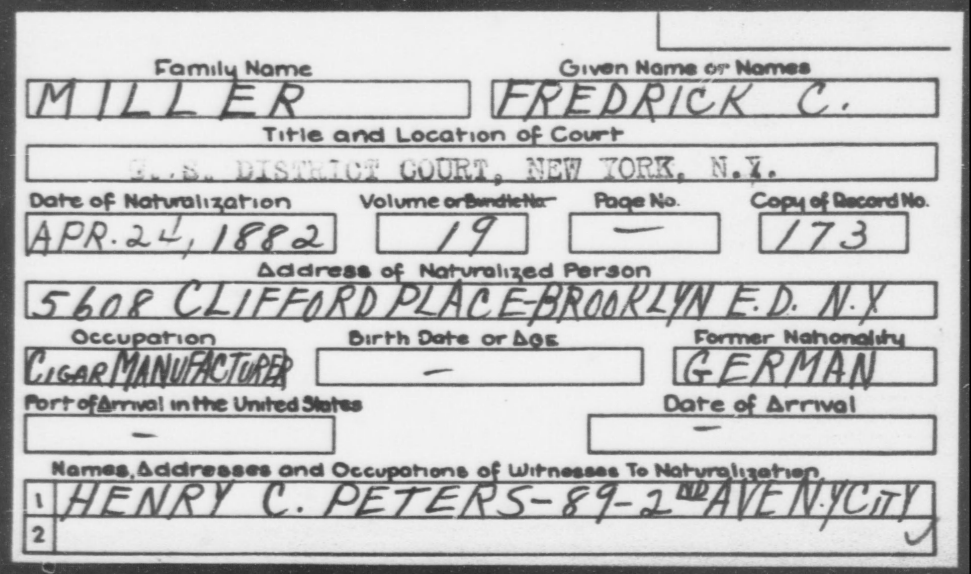 MILLER, FREDRICK C. - Born: [BLANK], Naturalized: 1882